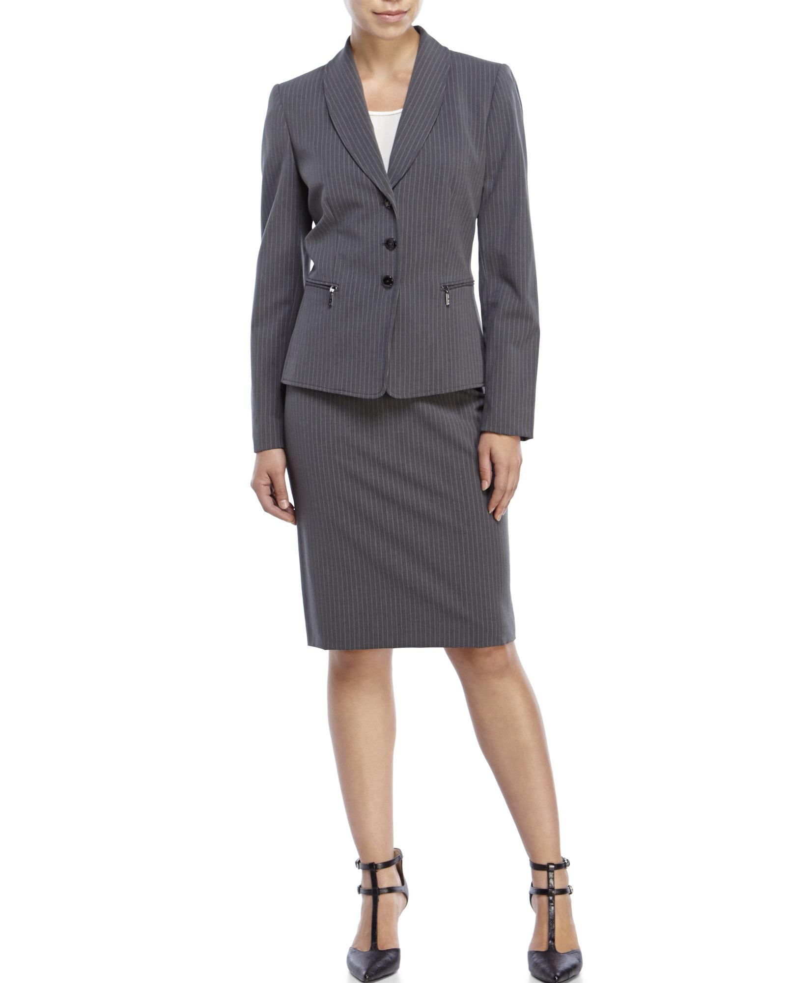 Tahari Two-Piece Pinstripe Skirt Suit in Gray   Lyst