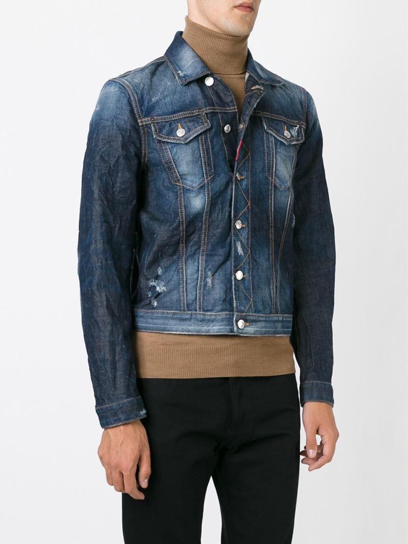 Dsquared Embroidered Denim Jacket In Blue For Men  Lyst