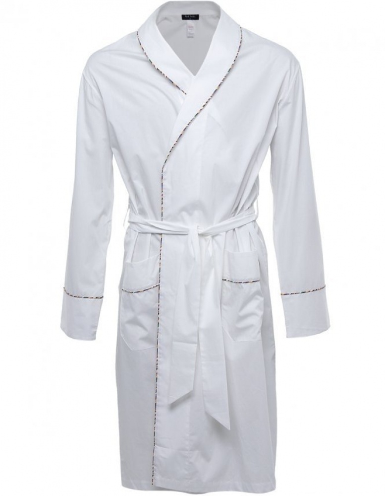 Paul Smith Multi Stripe Piping Dressing Gown in White for Men - Lyst