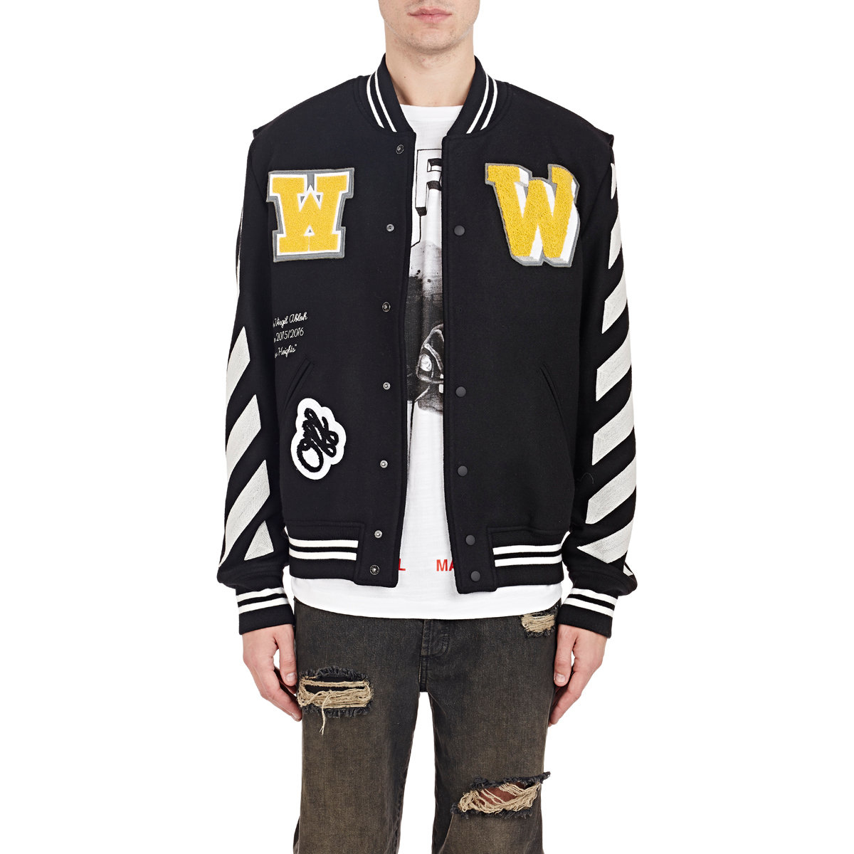 d59a4d96fa32 Lyst - Off-White c o Virgil Abloh Letterman Patch Jacket in Black