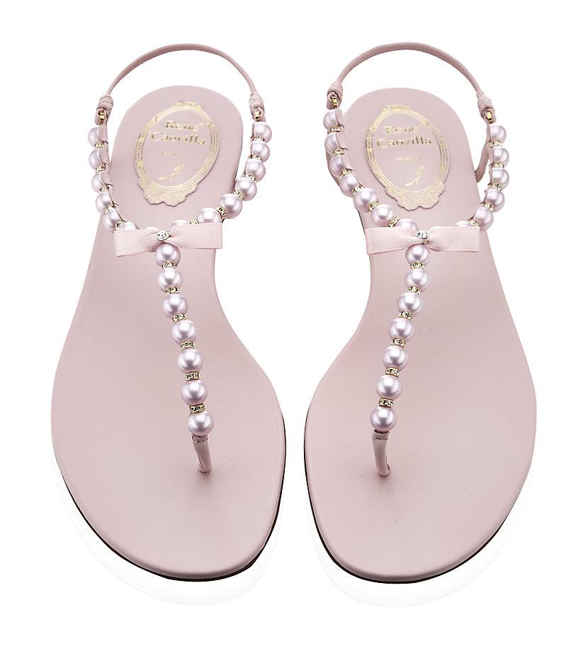 Rene Caovilla Pearl Sandals in Pink - Lyst