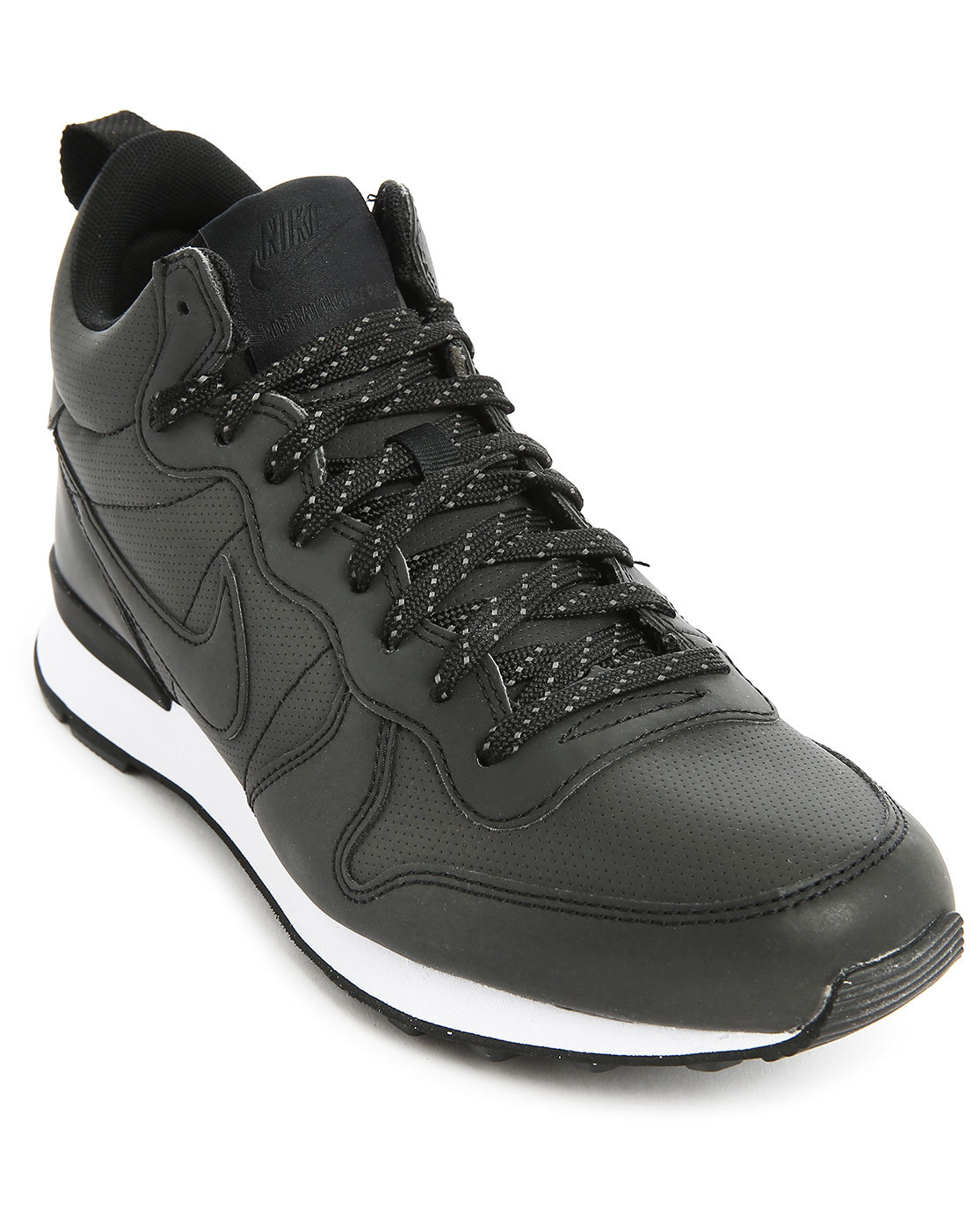 nike black leather mid top internationalist sneakers in