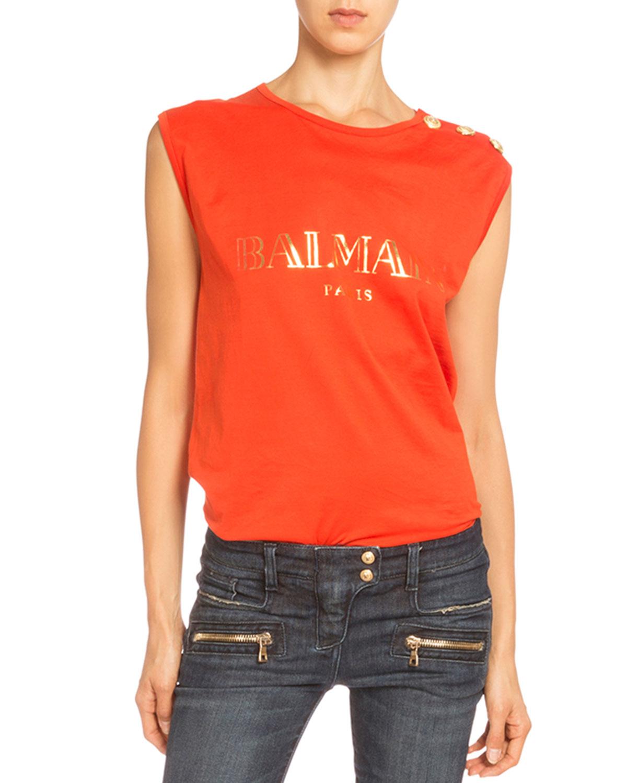85d15666 Balmain Logo Button-shoulder Muscle Tee in Orange - Lyst