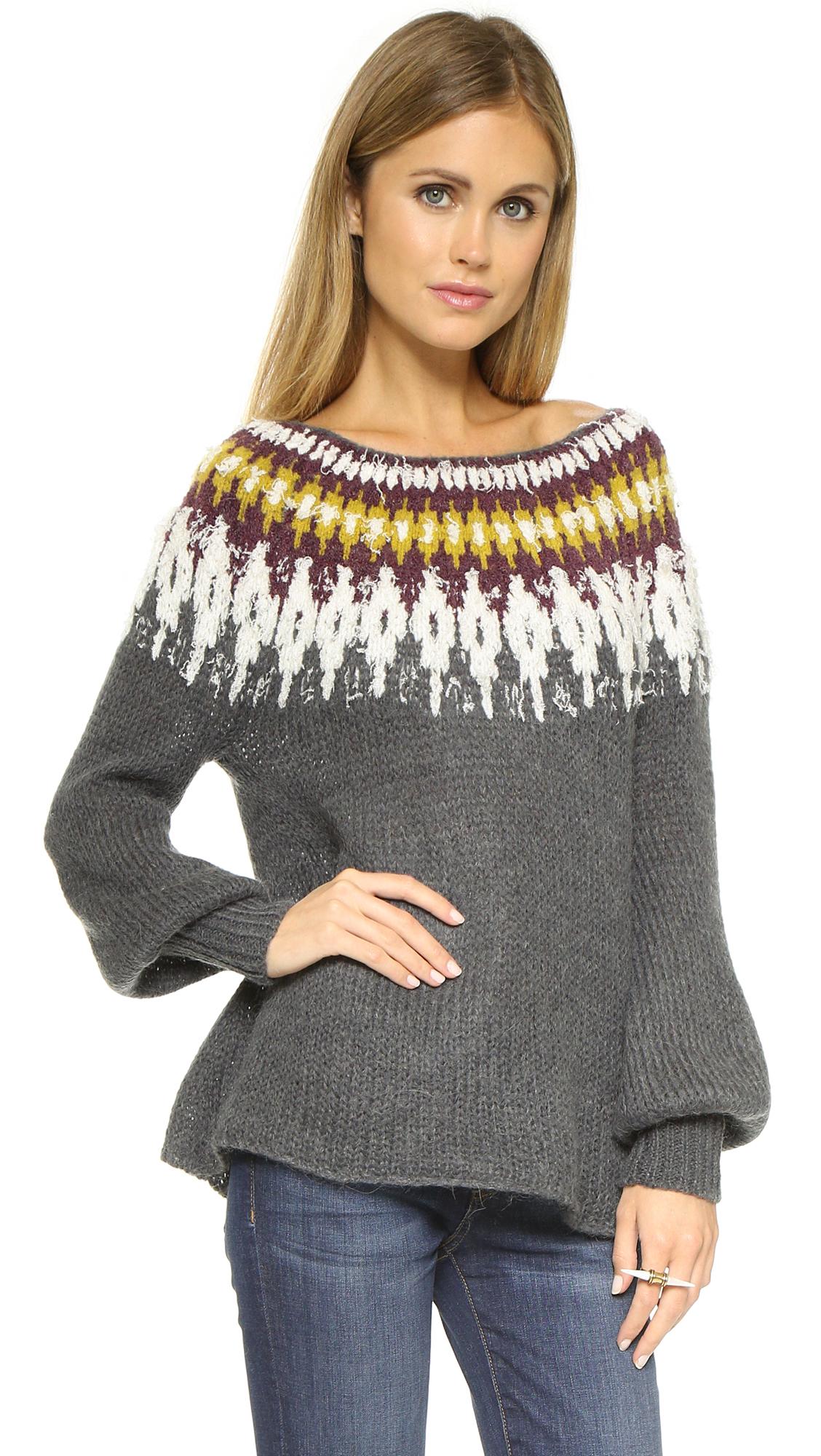 Free people Baltic Fair Isle Sweater - Grey Combo in Gray | Lyst