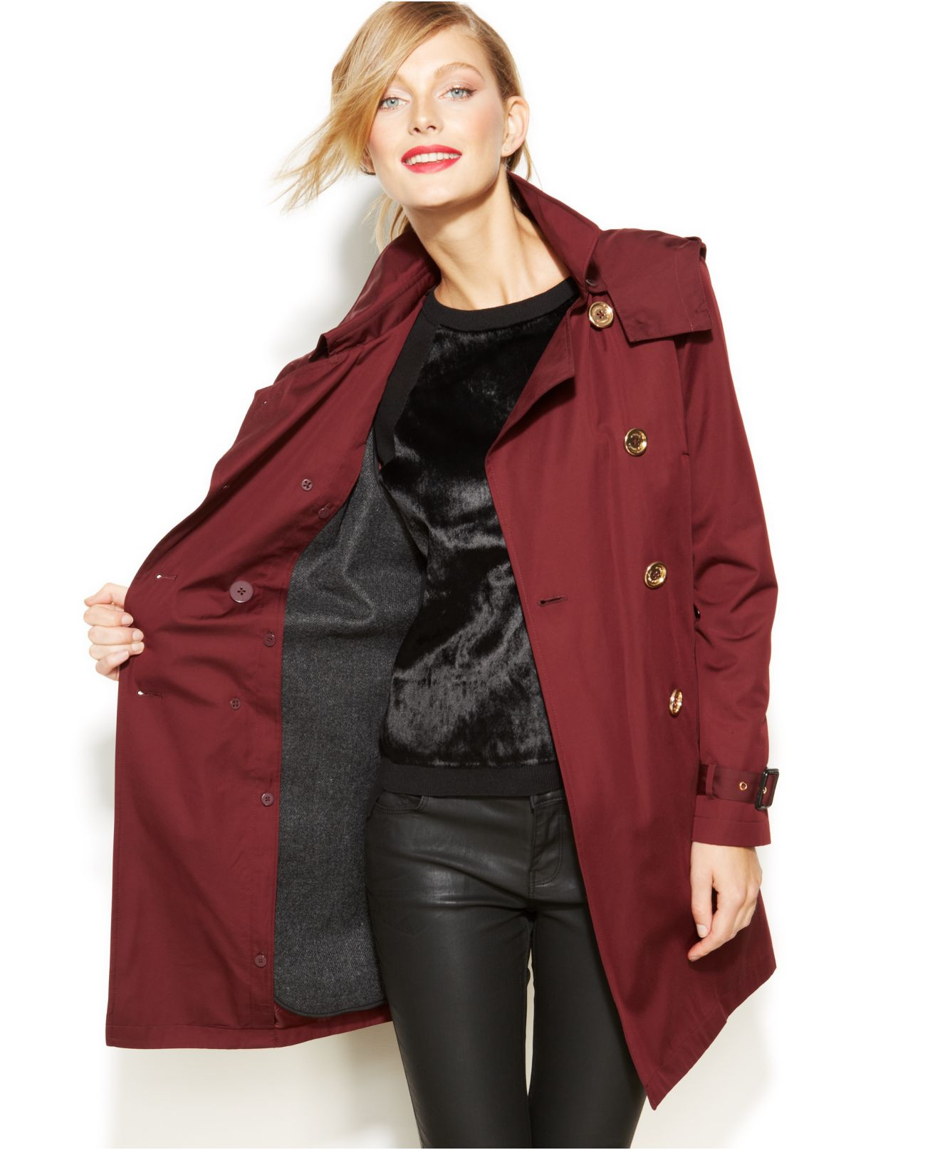 e995ceebac3 Lyst - Michael Kors Michael Removable-Liner Trench Coat in Red
