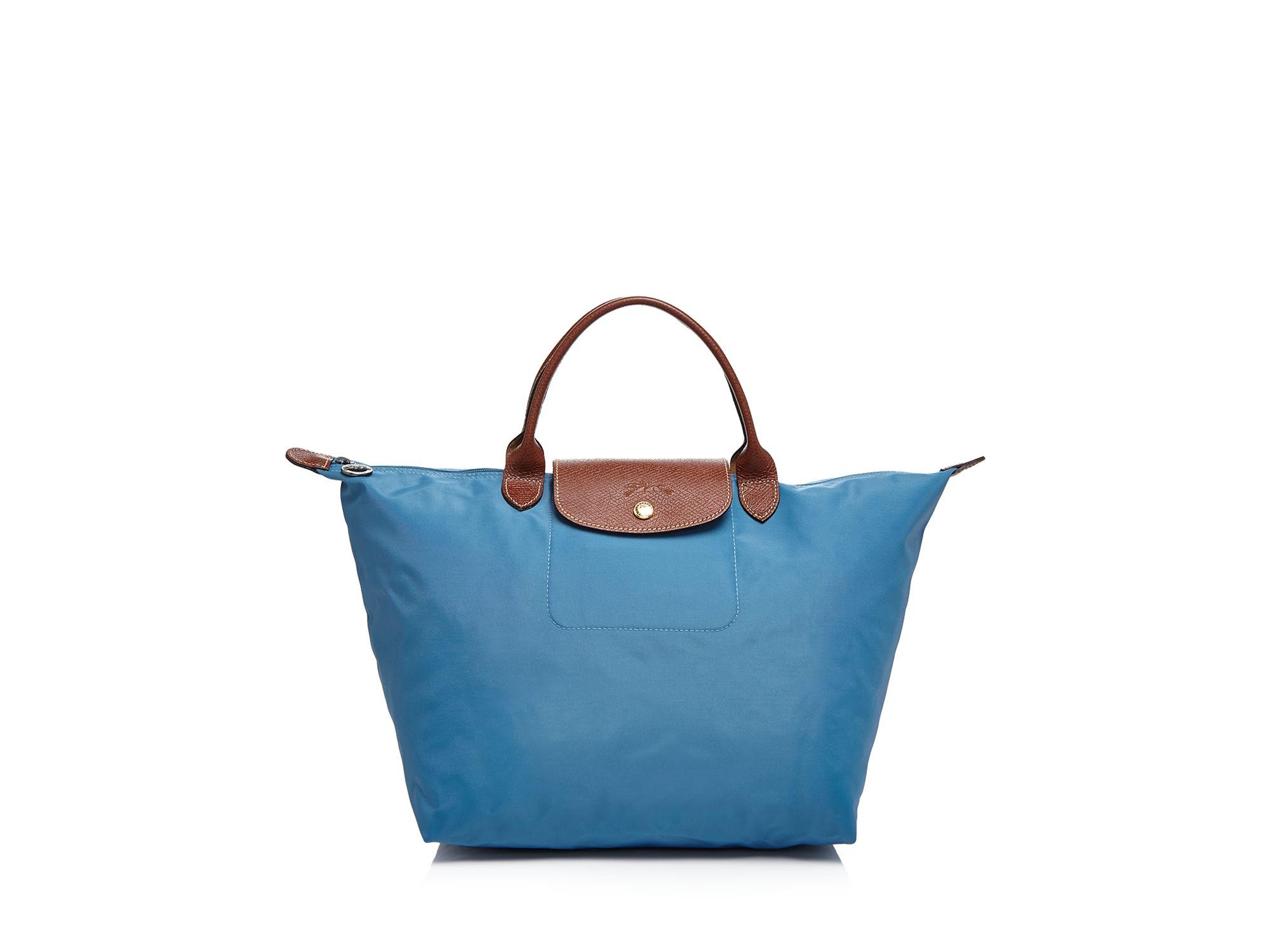 272146238b4 Lyst - Longchamp Tote - Le Pliage Medium Handheld in Blue