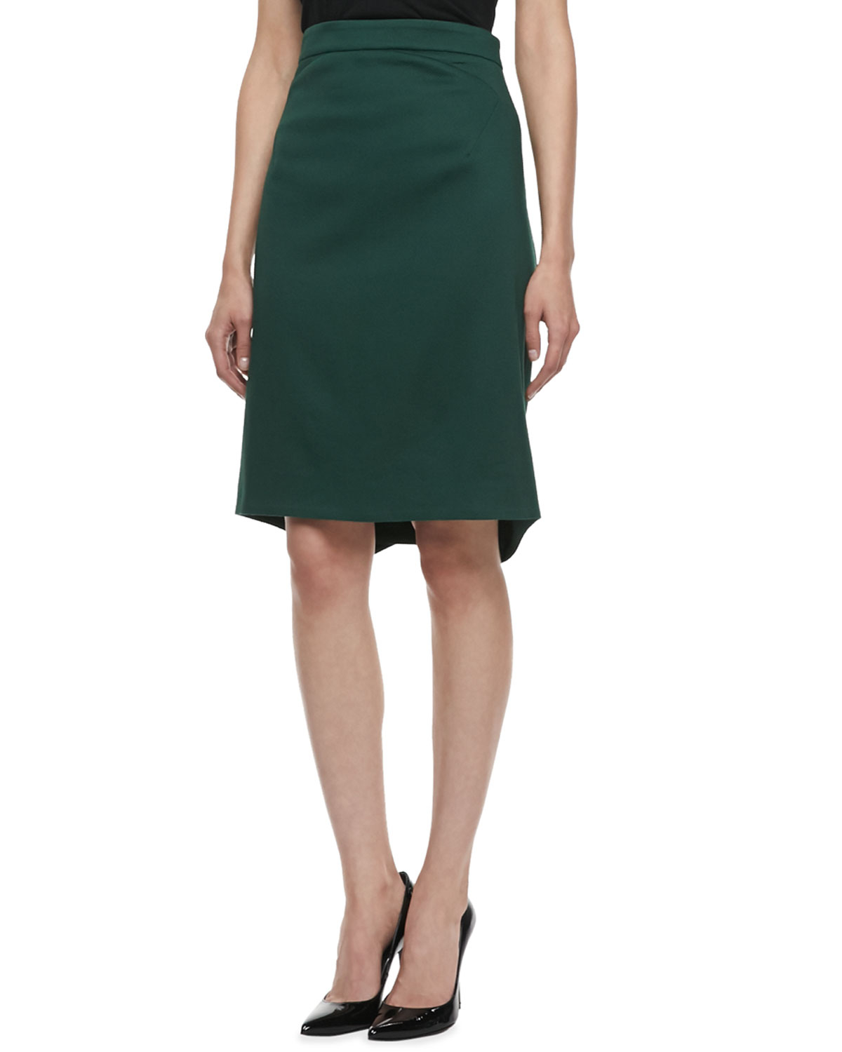 Zac posen Textured Pencil Skirt Dark Green in Green | Lyst