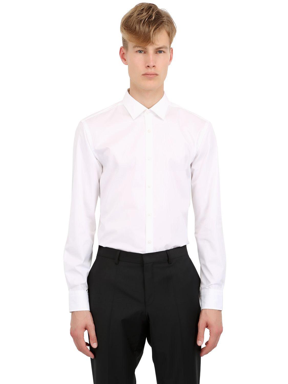 Boss slim fit stretch cotton poplin shirt in white for men for Hugo boss slim fit dress shirt