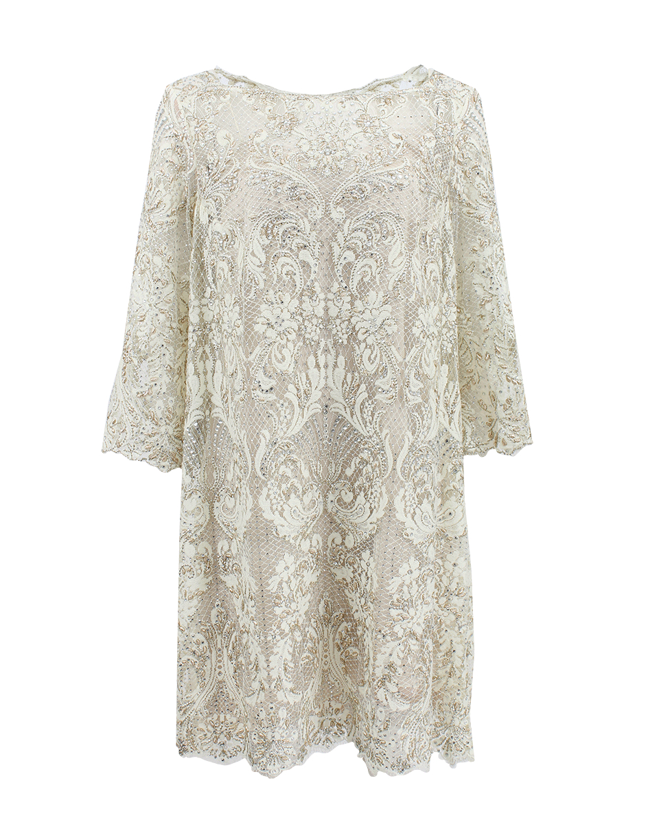 Marchesa Embroidered Lace Cocktail Shift Dress in White | Lyst