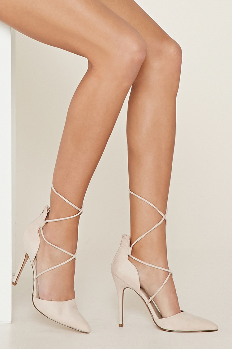 Lyst - Forever 21 Lace-up Pointed Pumps in Natural
