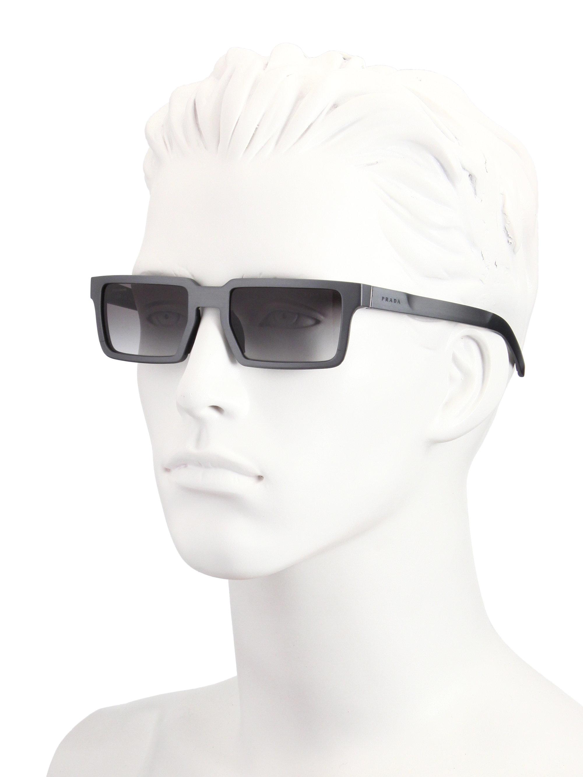 7f506e66946 ... discount code for lyst prada 51mm rectangle aluminum sunglasses in gray  for men 65ecf 6c5c0