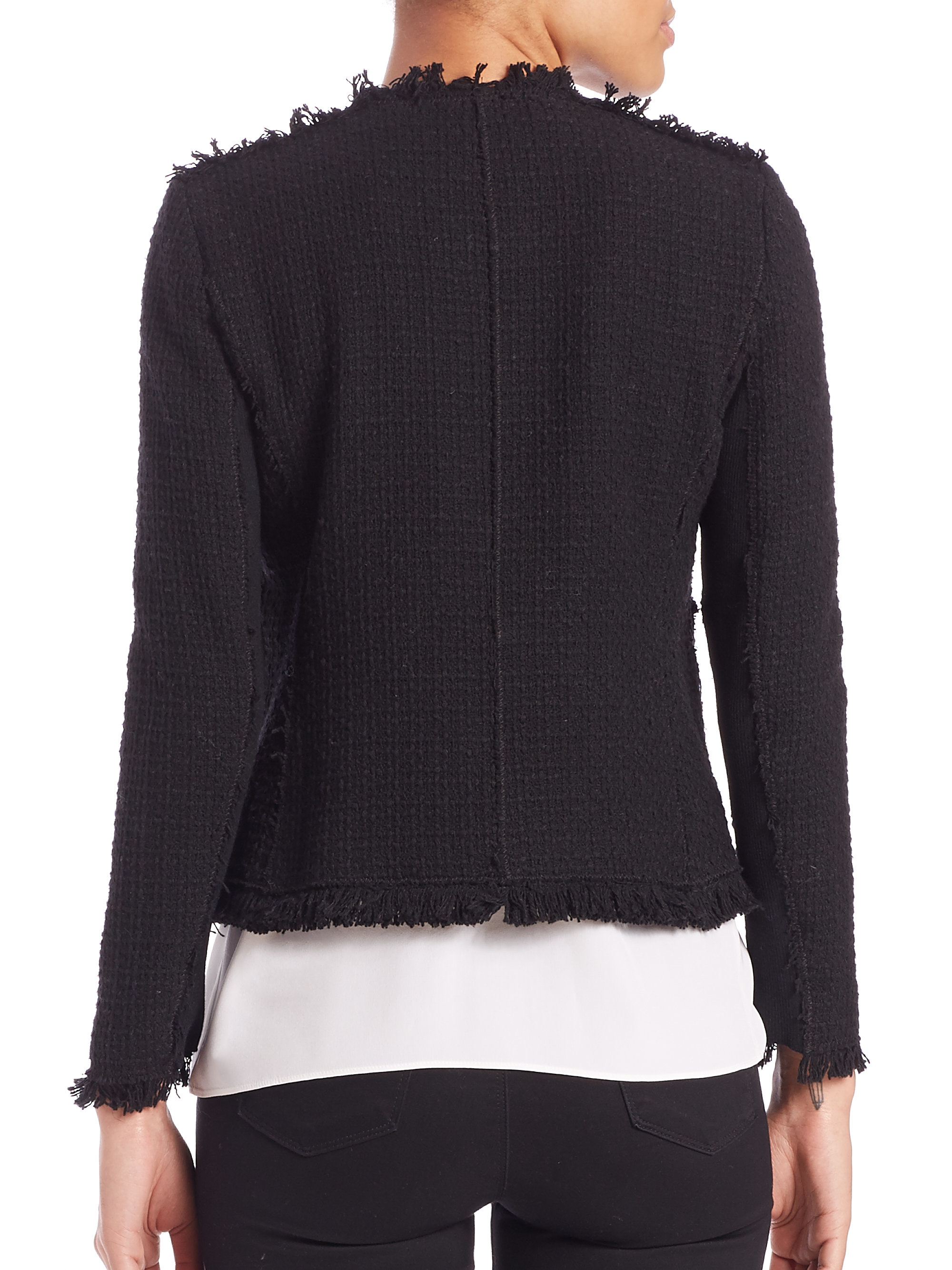 Rebecca taylor Embellished Tweed Jacket in Black | Lyst