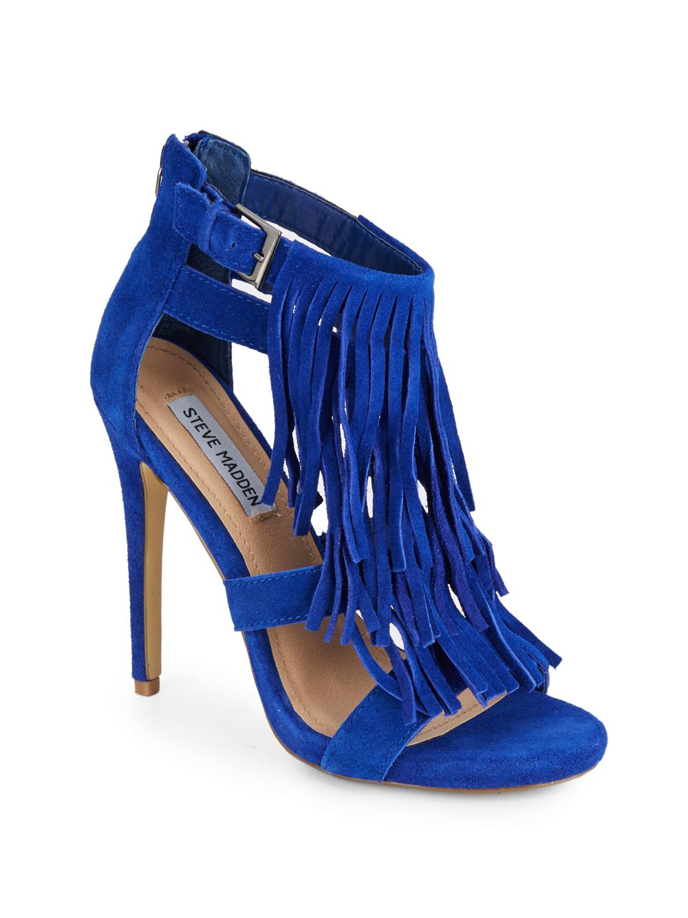 Steve Madden Bakirr Suede Fringe Sandals In Blue Lyst