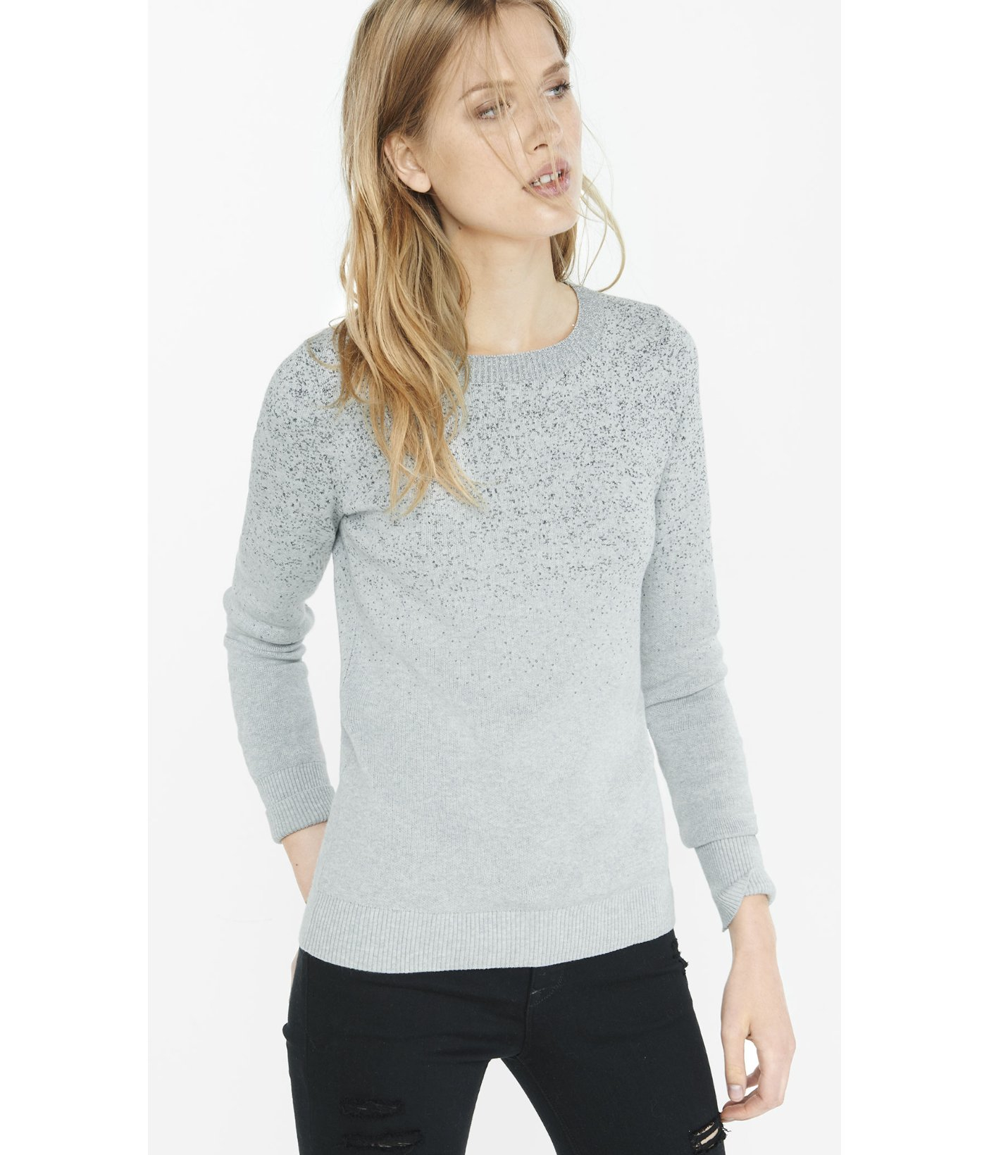 Express metallic ombre fitted crew neck sweater in for Silver metallic shirt women s