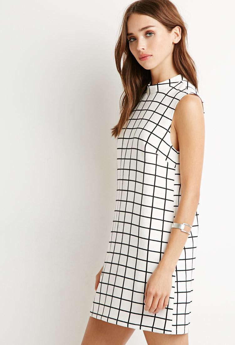 95c7077fac8 Forever 21 Grid Pattern Shift Dress in White - Lyst
