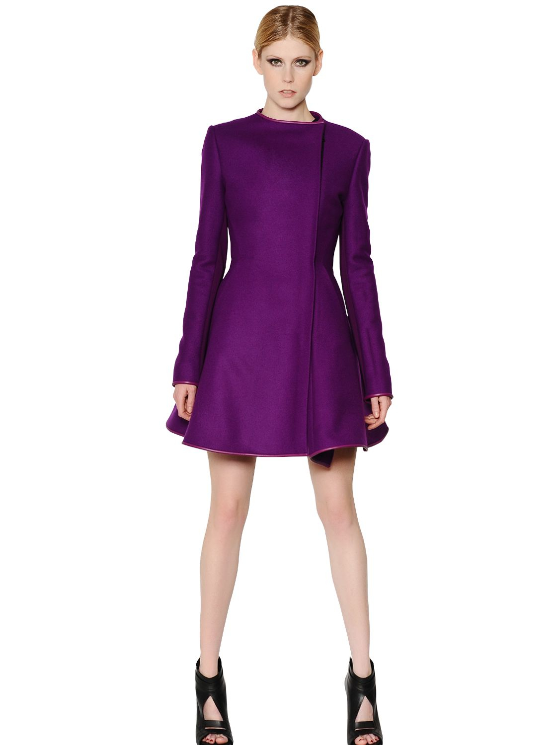 David koma Wool Coat with Nappa Leather Trim in Purple | Lyst