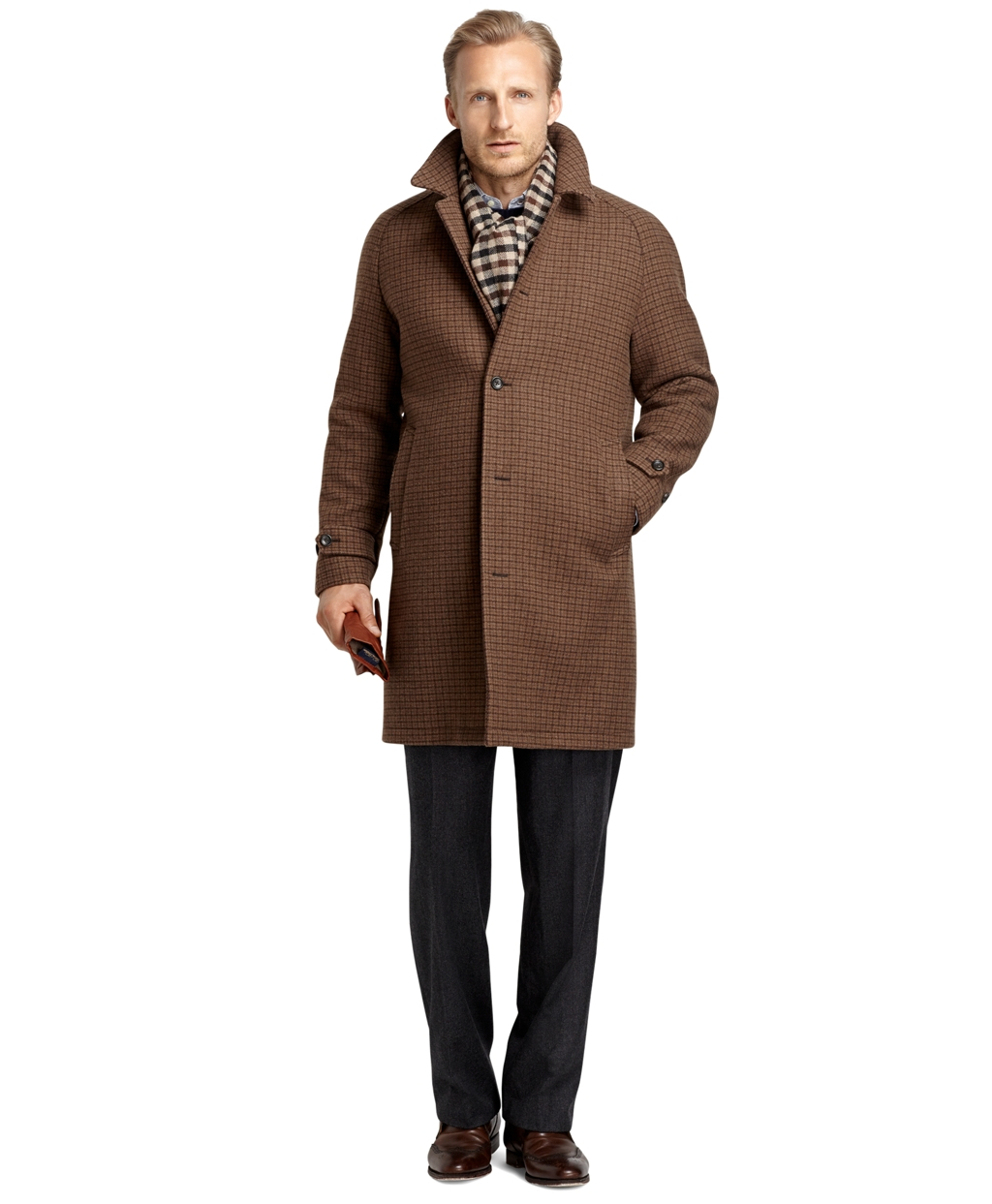 Brooks brothers Double-face Overcoat in Brown for Men | Lyst