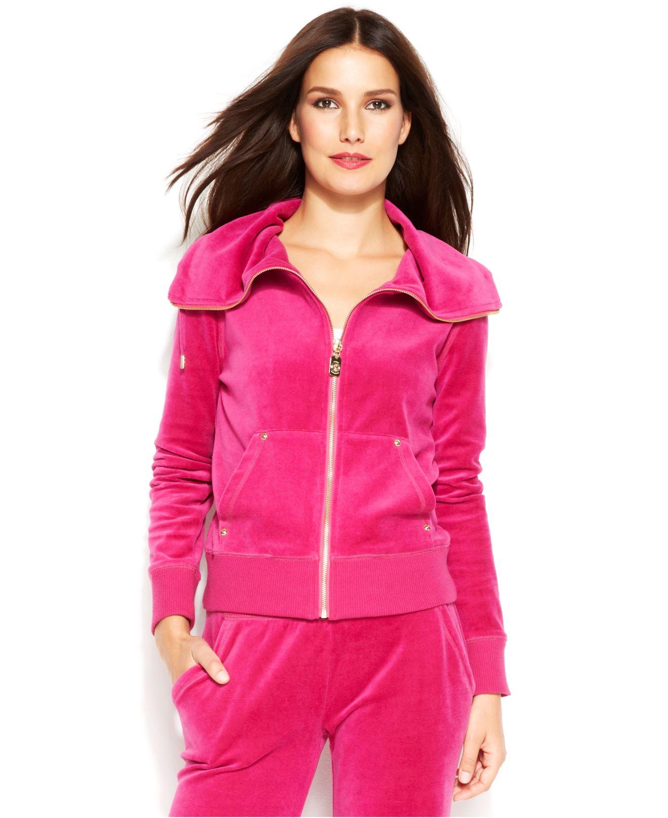 Lyst Michael Kors Michael Petite Velour Zip Front Jacket In Pink