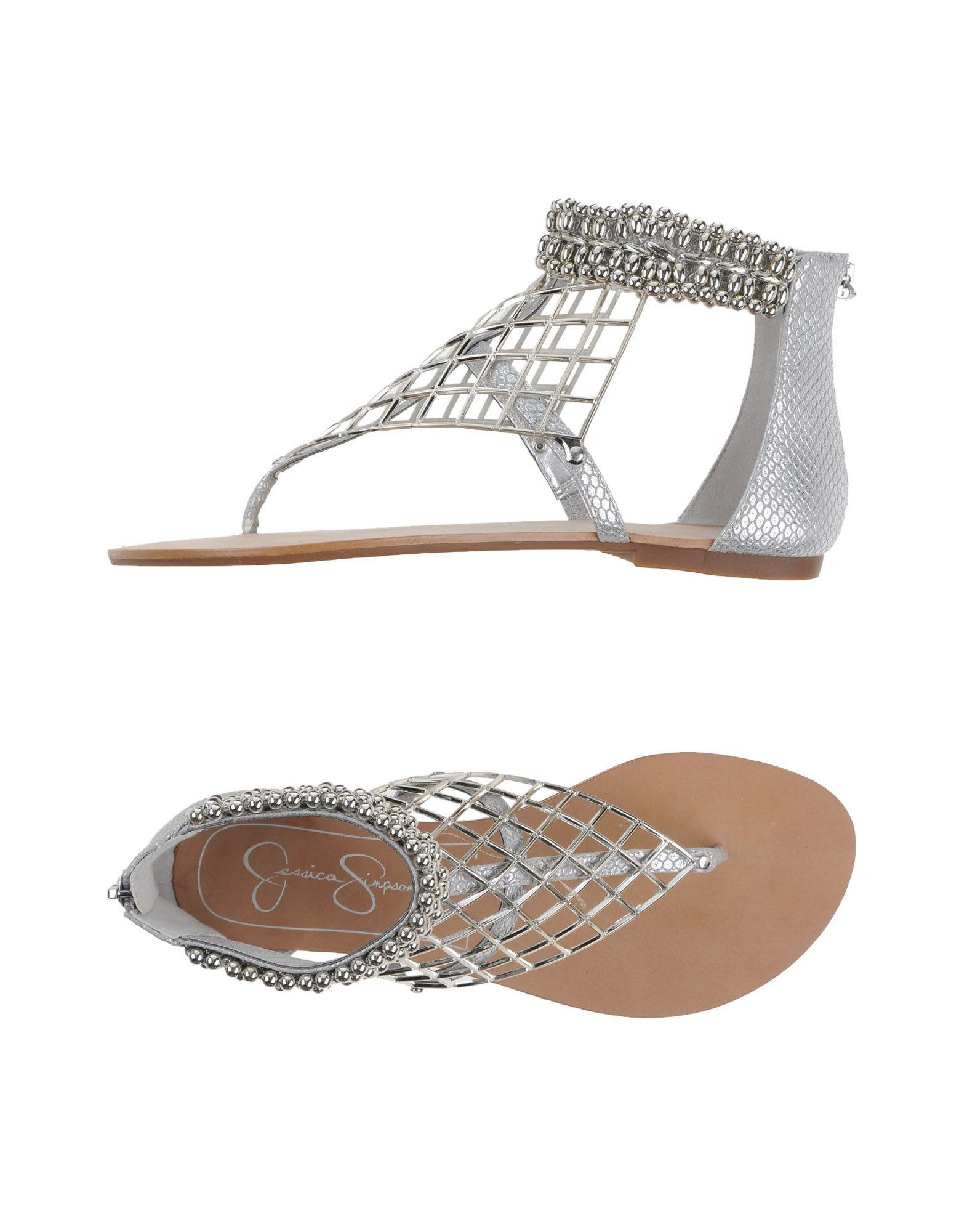 1a8d49fbae545b Lyst - Jessica Simpson Cut-Out Faux-Leather Sandals in Metallic