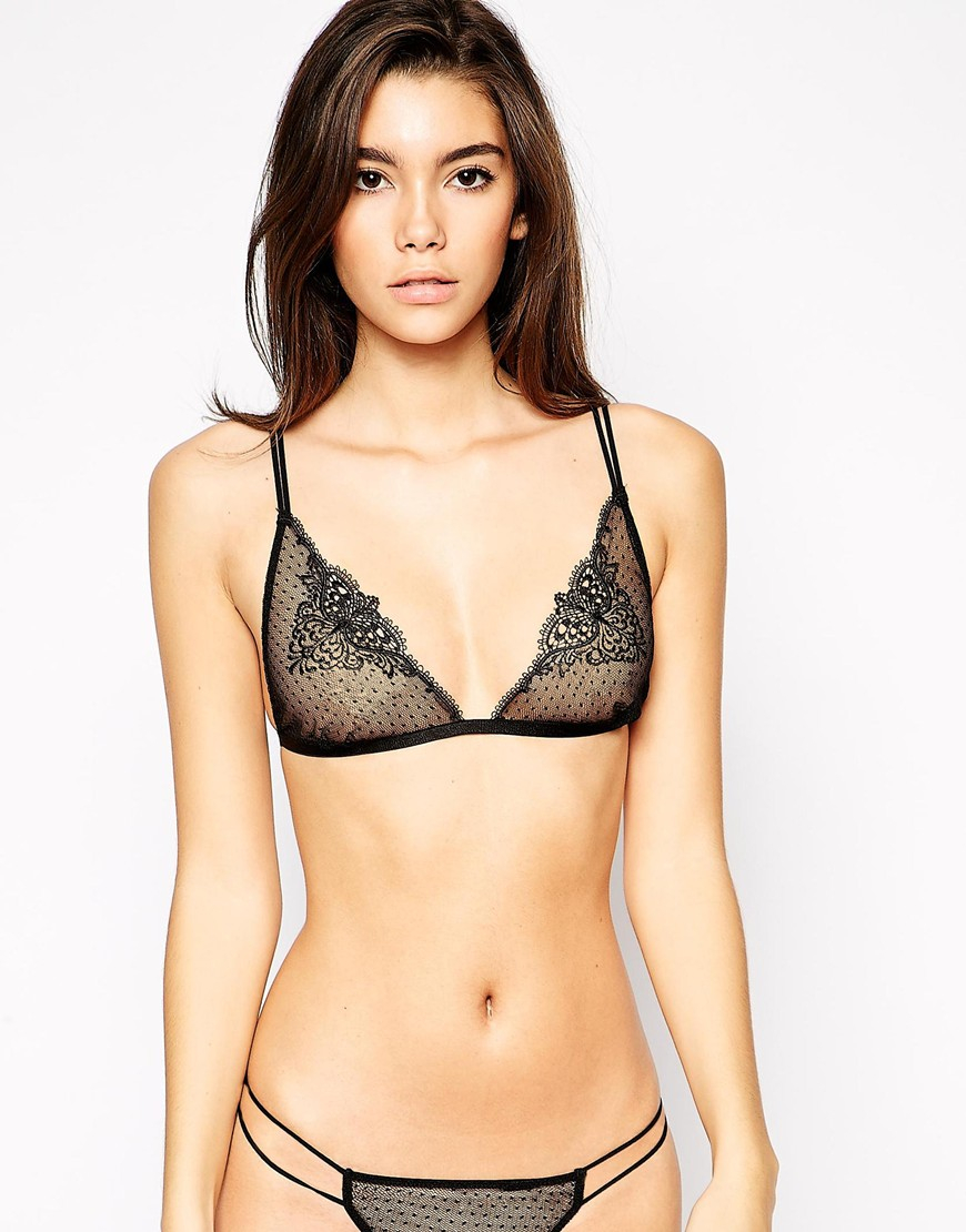 f849a9449d805 Lyst - ASOS Butterfly Applique Triangle Bra in Black