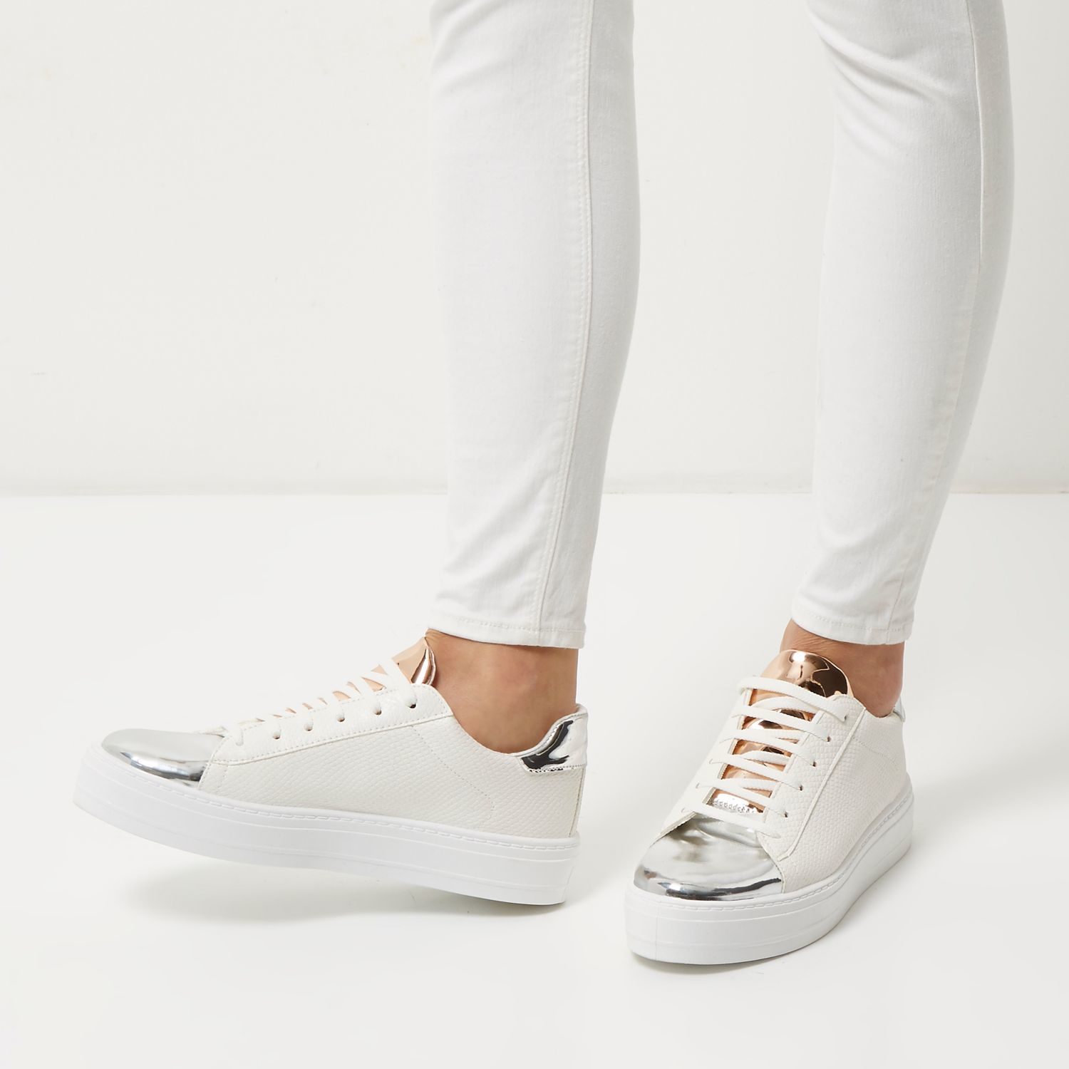 River island White Metallic Trim Platform Trainers in ...