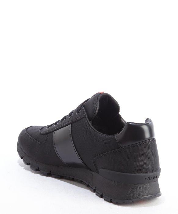 Black Leather and Canvas Sneakers Prada SpLShhJ