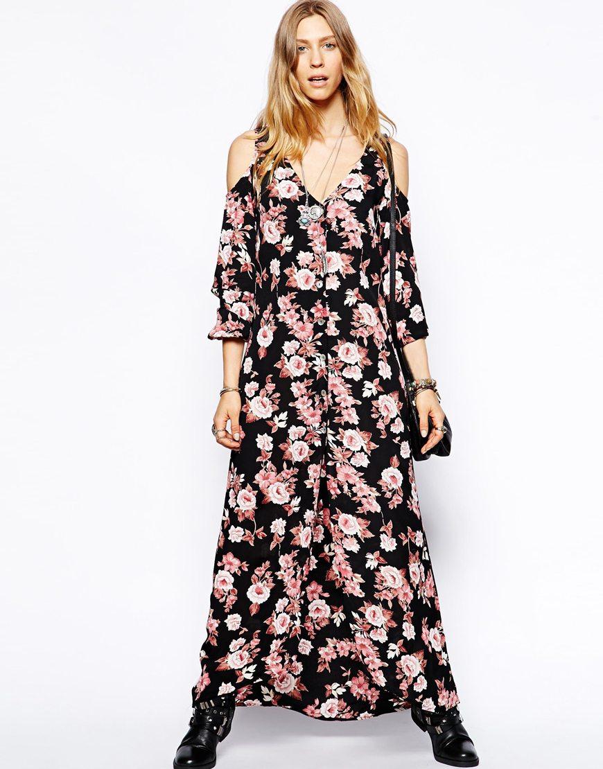 0a299cbe9eb Lyst - Flynn Skye Cold Shoulder Maxi Dress In Pretty Pink Print