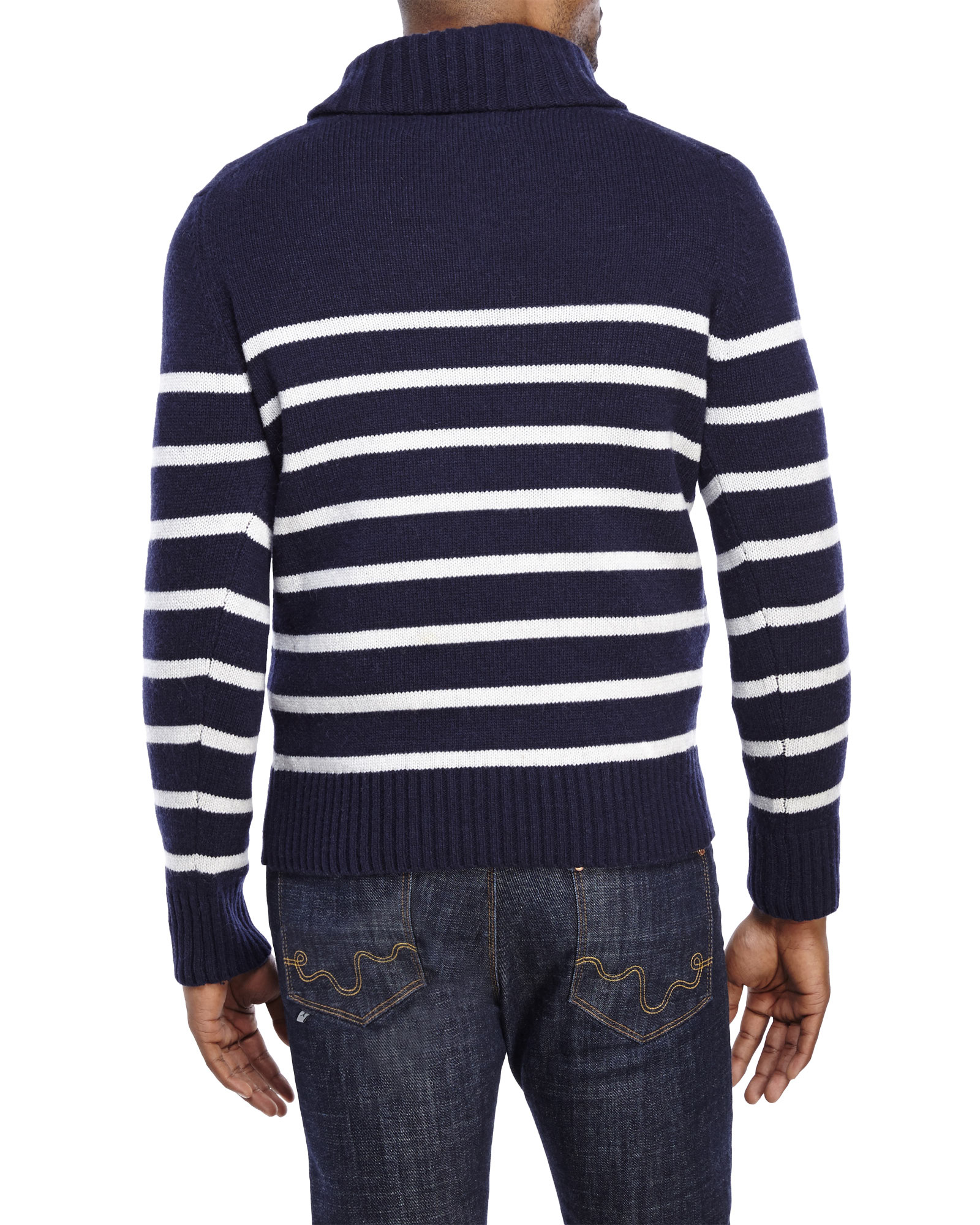 Barque Navy Stripe Shawl Collar Wool Sweater in Blue for Men | Lyst
