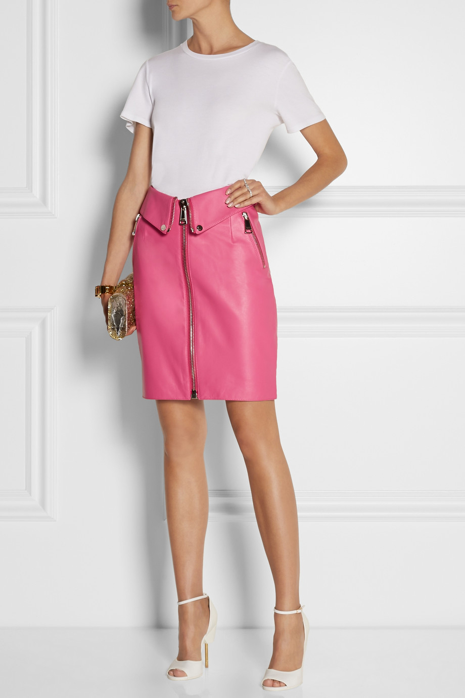 Moschino Leather Skirt in Pink | Lyst