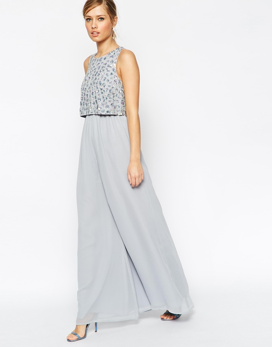 35e9c00f1293 Lyst - ASOS Jumpsuit With Palazzo Pants And Embellished Overlay in Blue