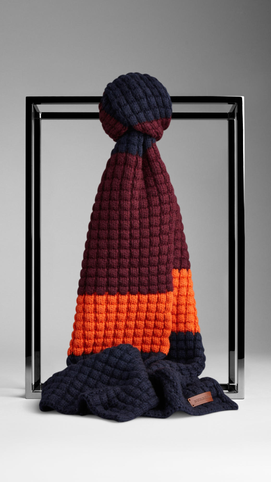 Knitting Pattern Burberry Scarf : Burberry Waffle Knit Wool Cashmere Scarf in Blue for Men Lyst