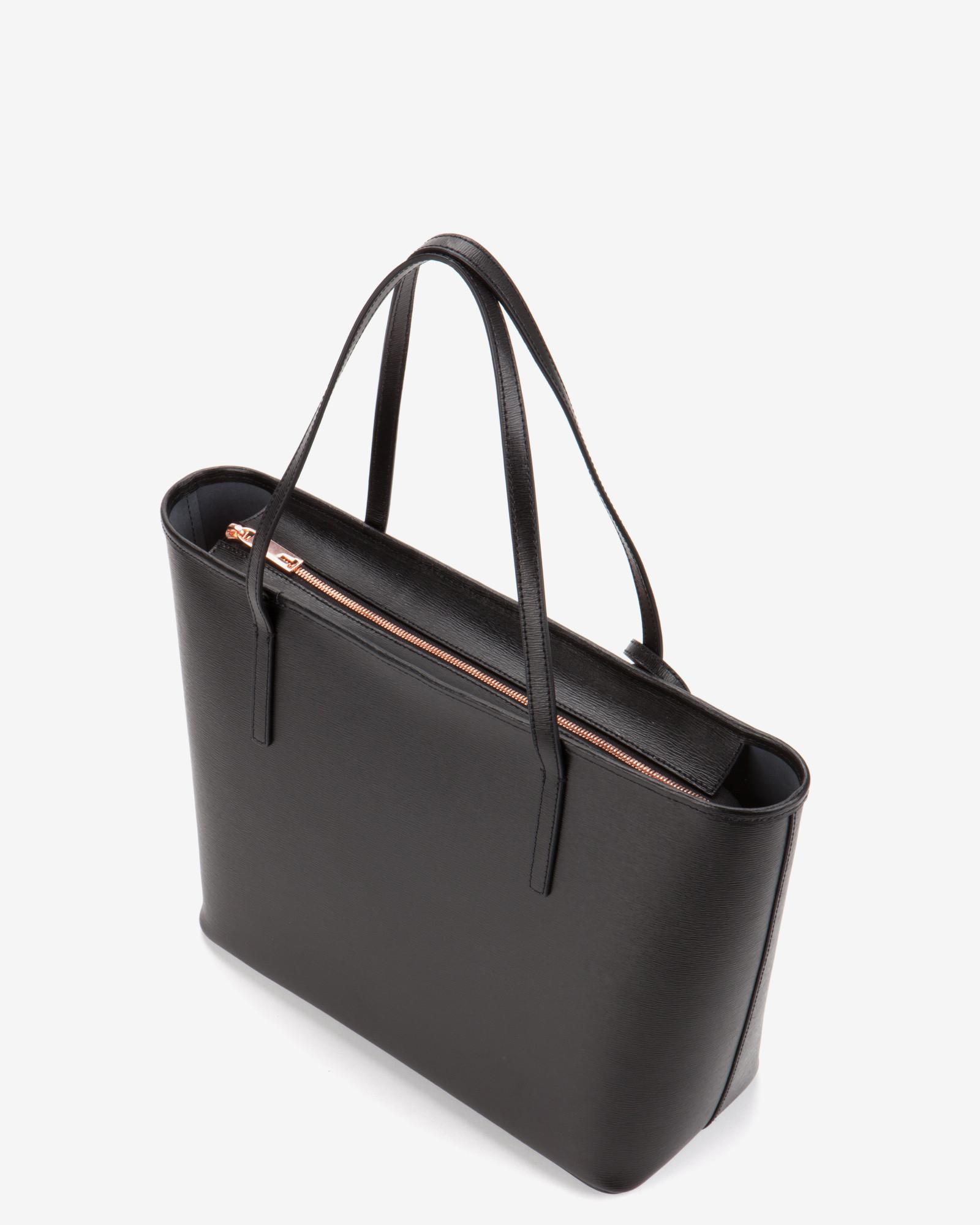 af1c87719fe60 Lyst Ted Baker Crosshatch Leather Tote Bag In Black