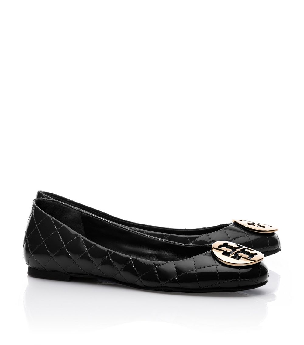 2a91852711a8 Lyst - Tory Burch Quinn Quilted Leather Ballet Flat in Black