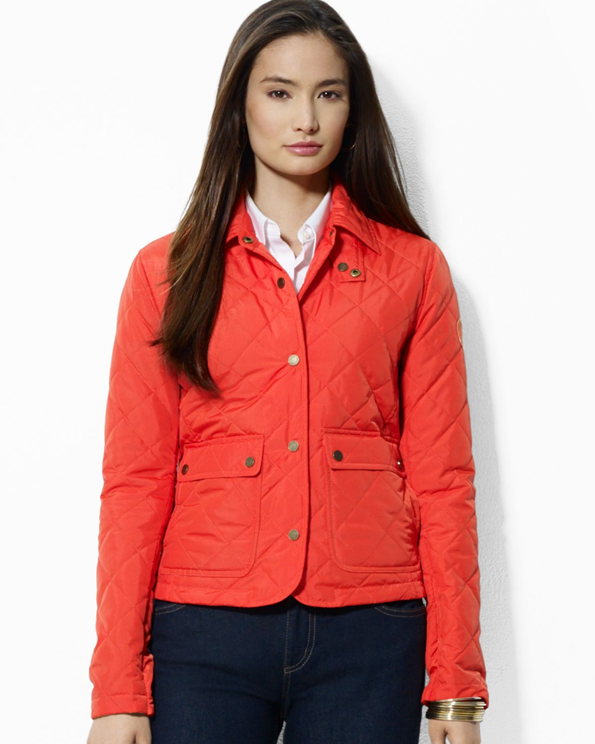 Ralph Lauren Diamond Quilted Barn Coat In Orange Surf