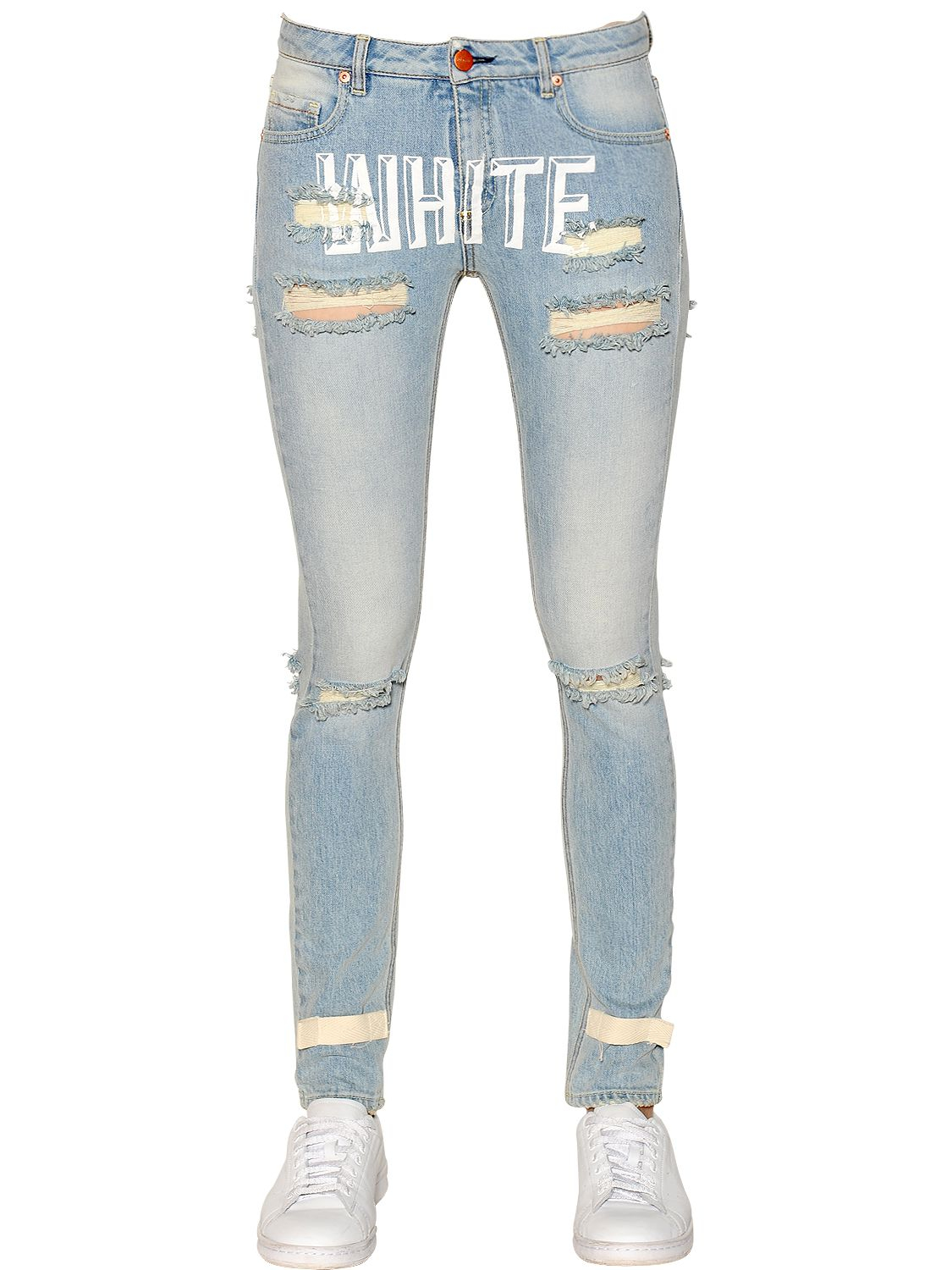 Off-white c/o virgil abloh Destroyed Printed Cotton Denim Jeans in ...