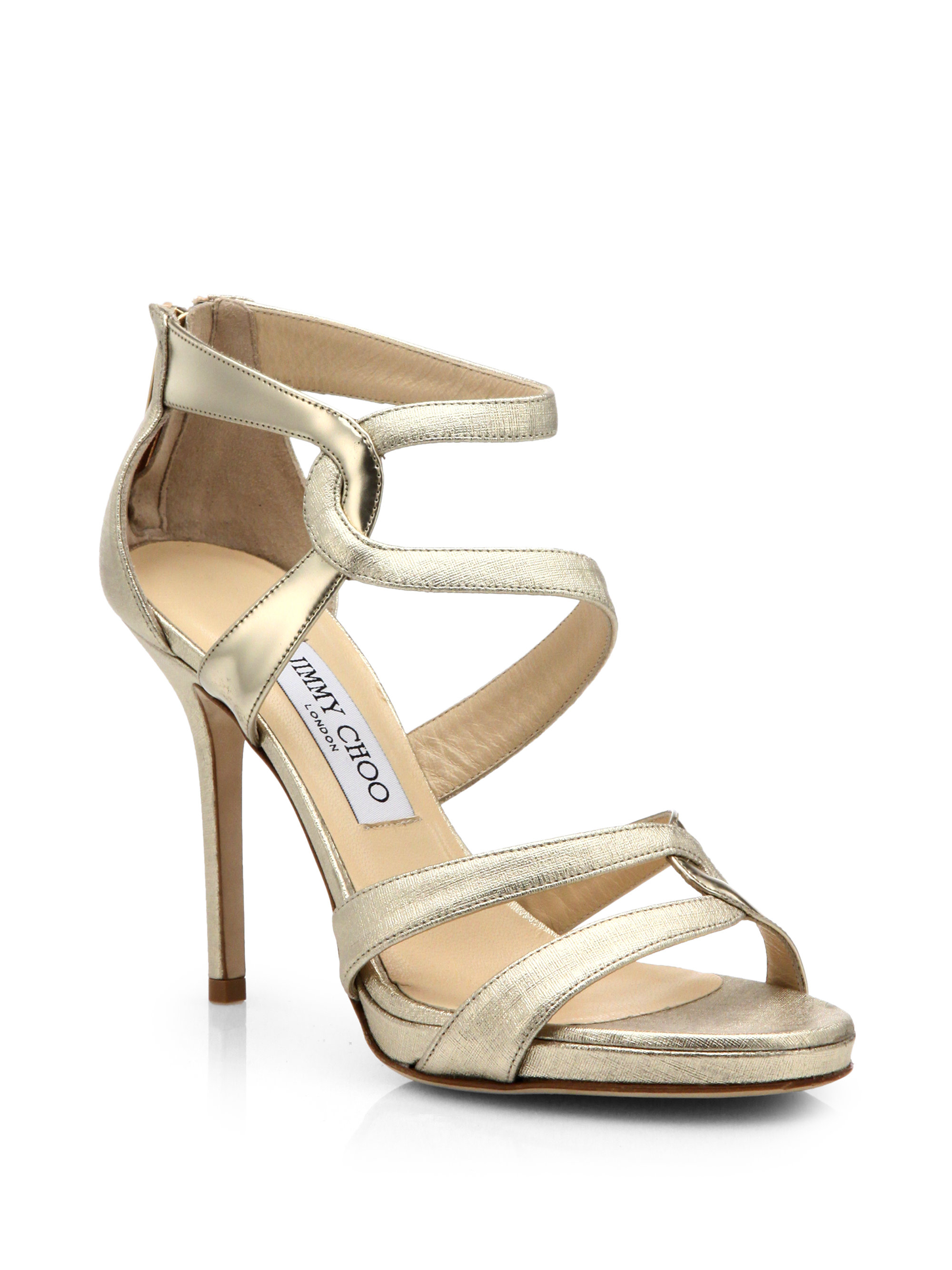 Jimmy Choo Metallic-Embossed Suede Sandals best place for sale cheap sale shop for KuYJc1v