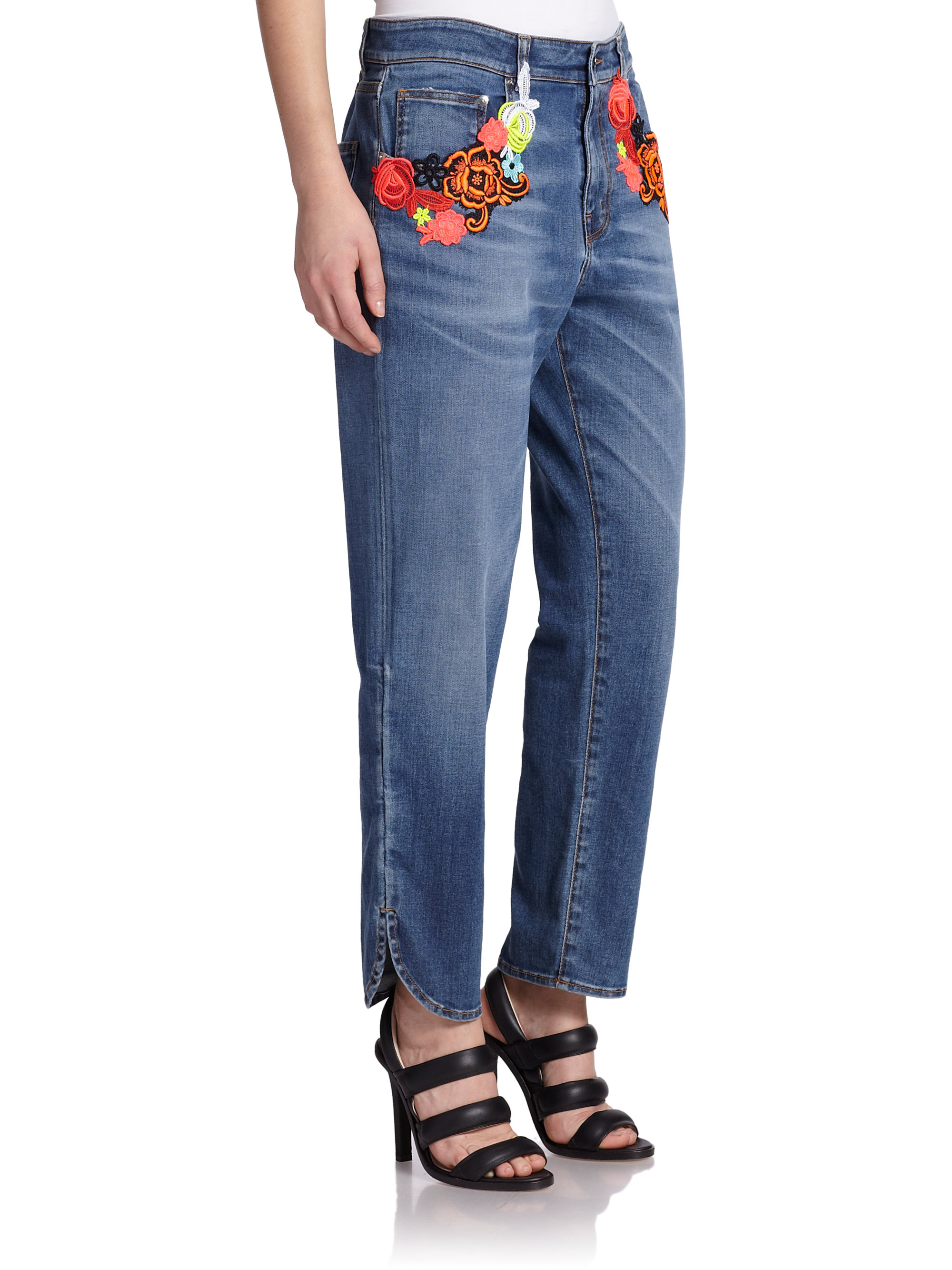 Pick A Best Online Free Shipping Footlocker Embroidered jeans Christopher Kane Cheap Sale 2018 bitPtYt9