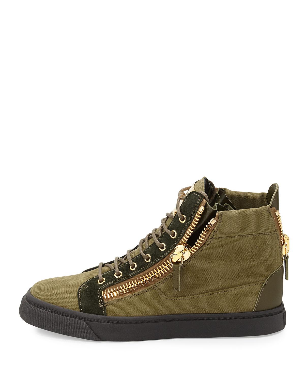Green Canvas Shoes Mens