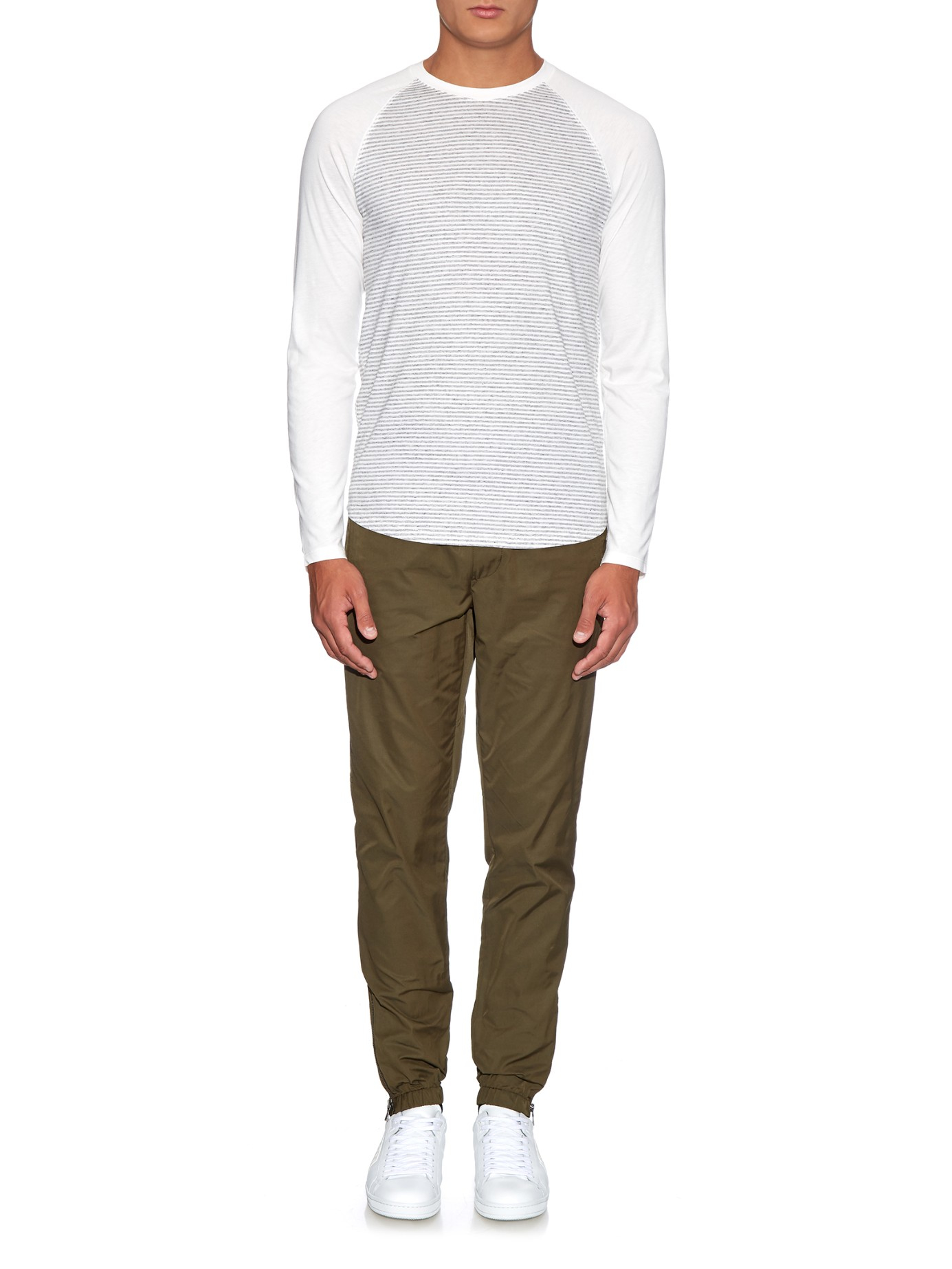 Lyst vince striped baseball t shirt in white for men for Vince tee shirts sale