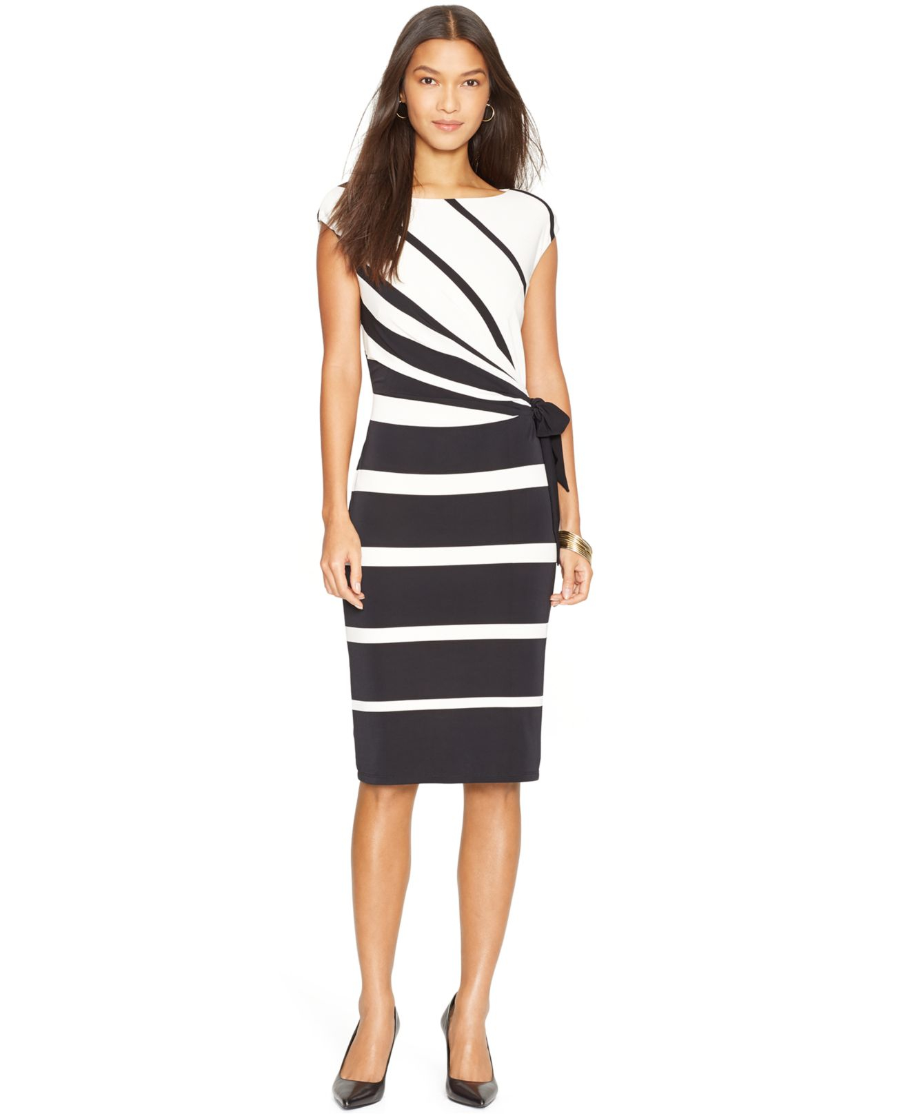 Lauren by ralph lauren Petite Cap-Sleeve Striped Jersey Dress in ...