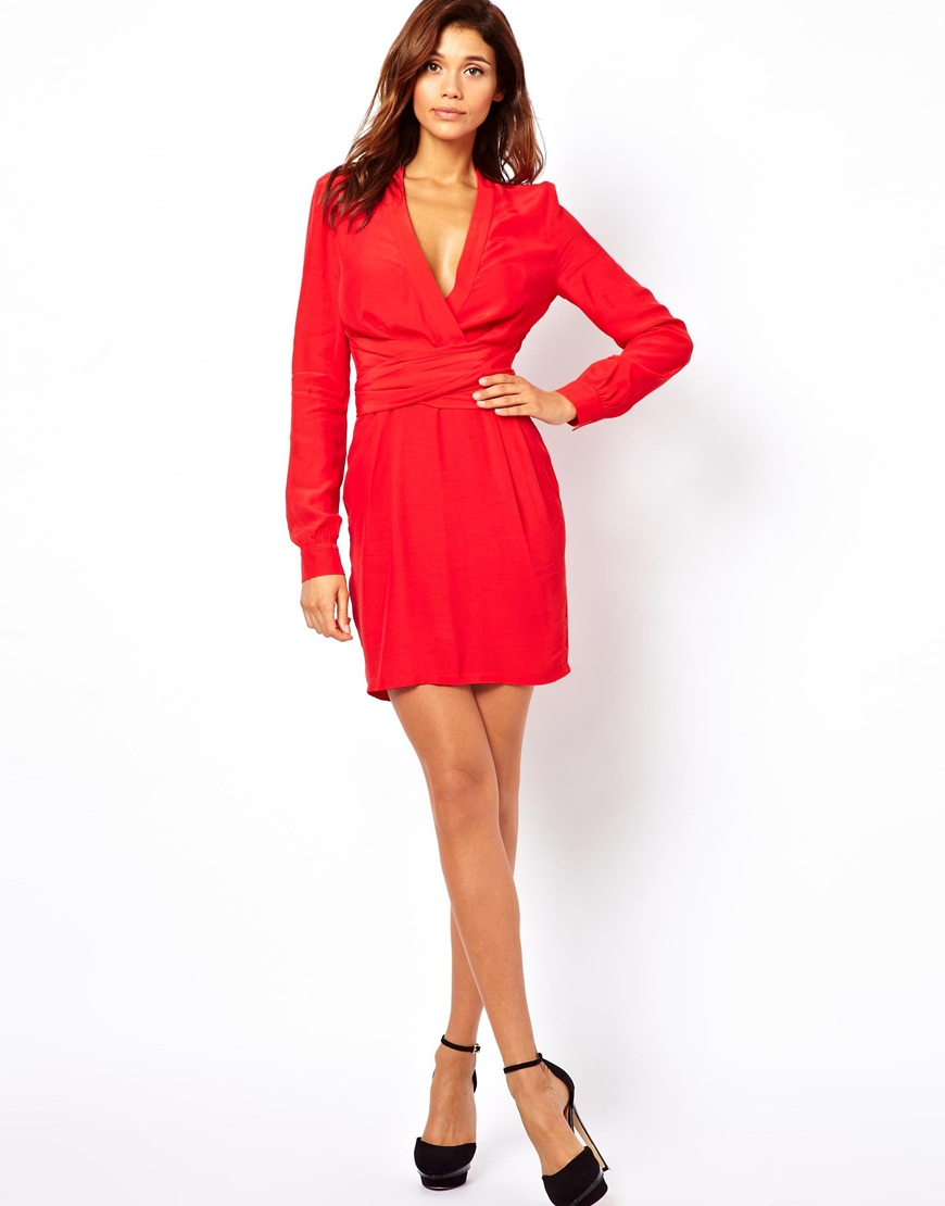eb948c58f94 ASOS Wrap Dress With Tulip Skirt And Long Sleeves in Black - Lyst