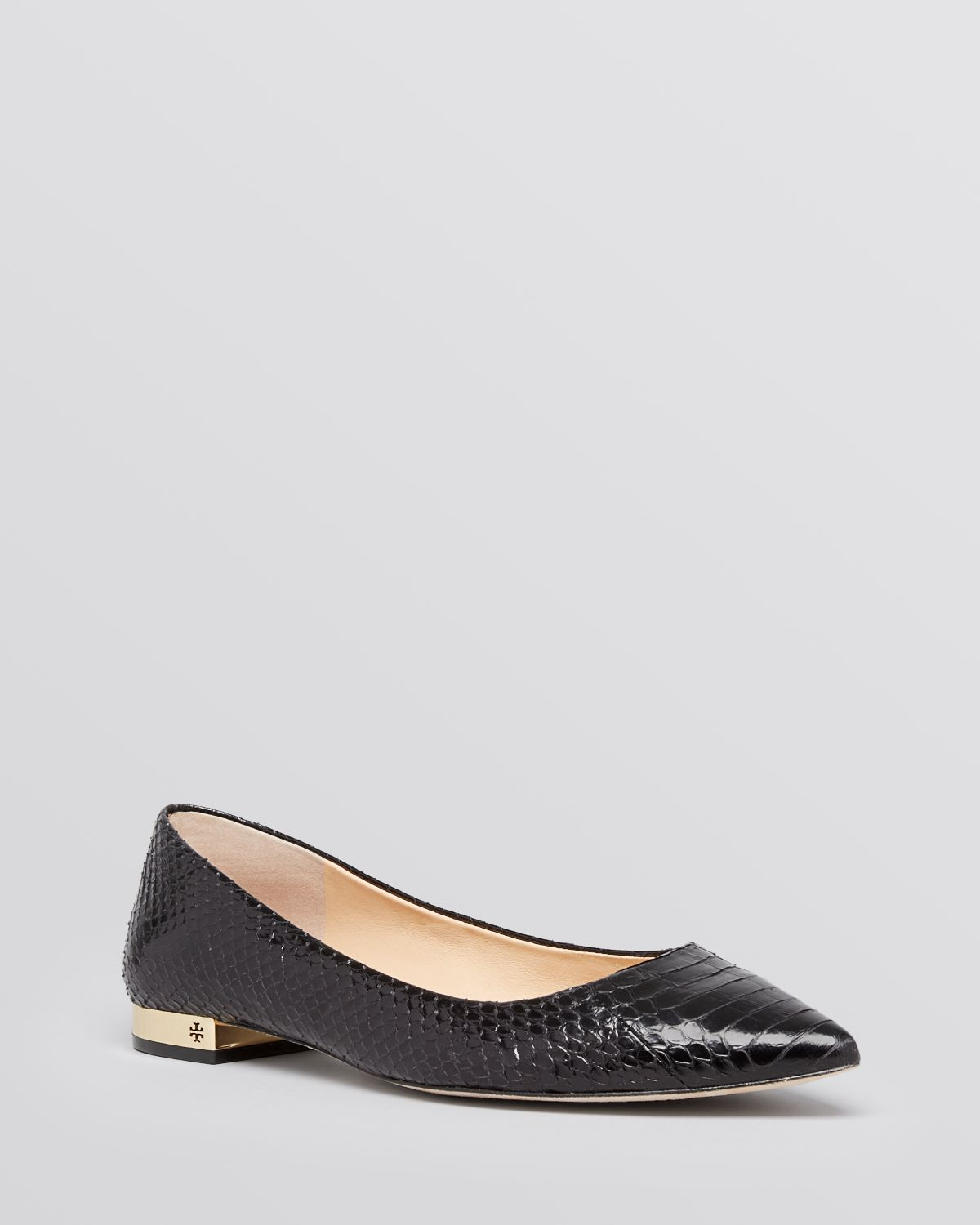 afe509fae9b1 ... release date tory burch pointed toe flats bedford snakeskin in black  lyst 4e1c1 3af1a ...
