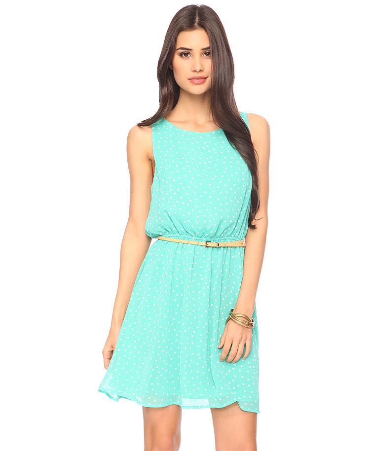 Forever 21 Sleeveless Polka Dot Dress in Green | Lyst