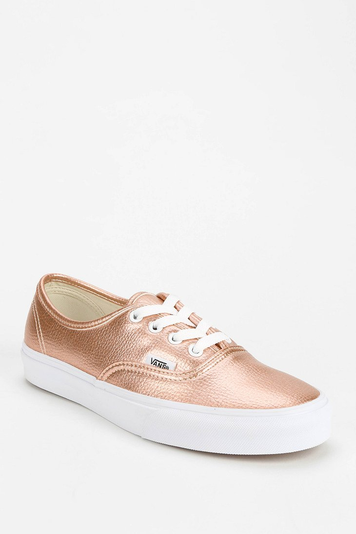 c947b6ad6a Lyst - Vans Authentic Metallic Leather Women S Low-Top Sneaker in Pink