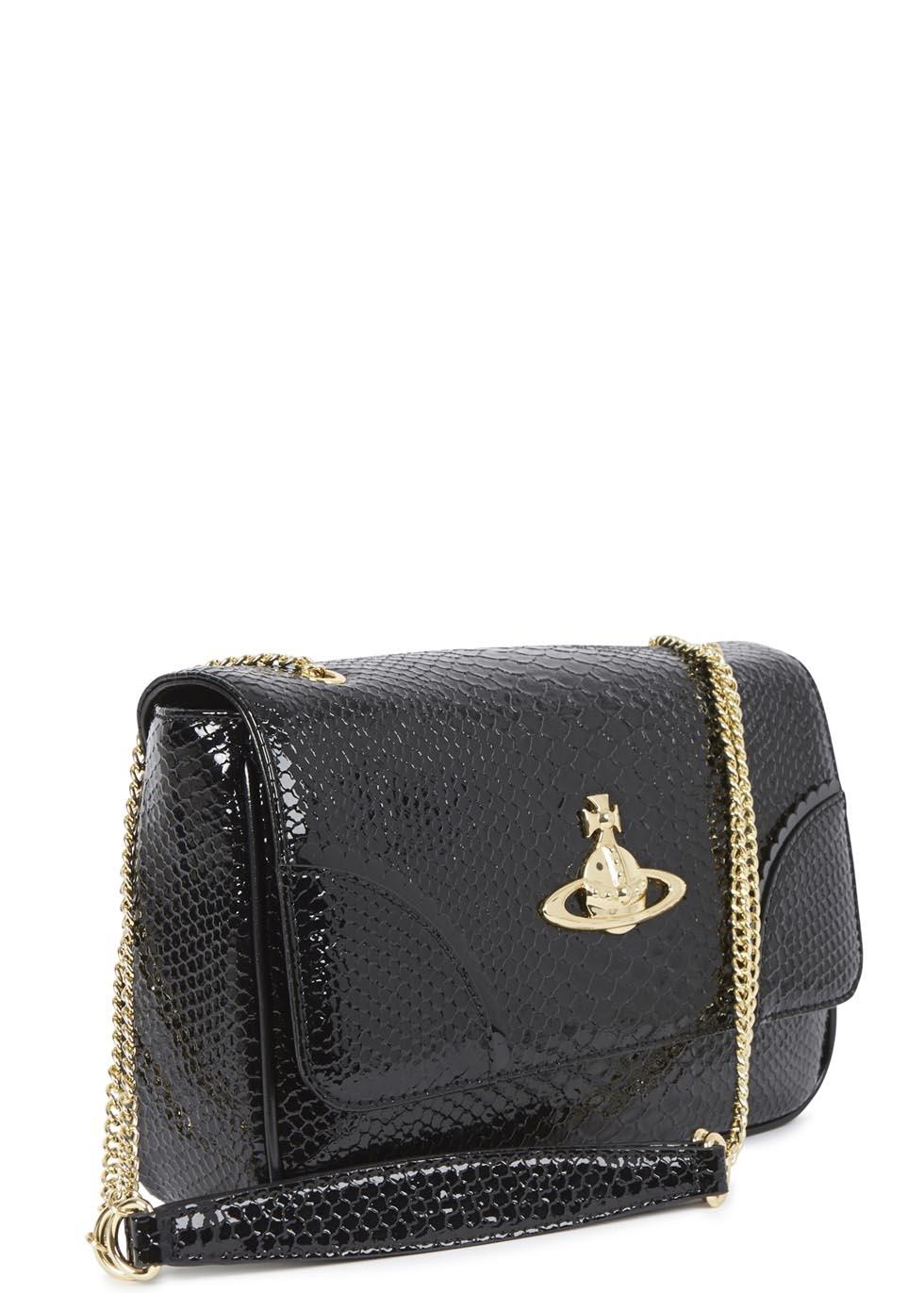 d064f416c3 Vivienne Westwood Anglomania Frilly Snake Black Patent Leather Shoulder Bag  in Black - Lyst