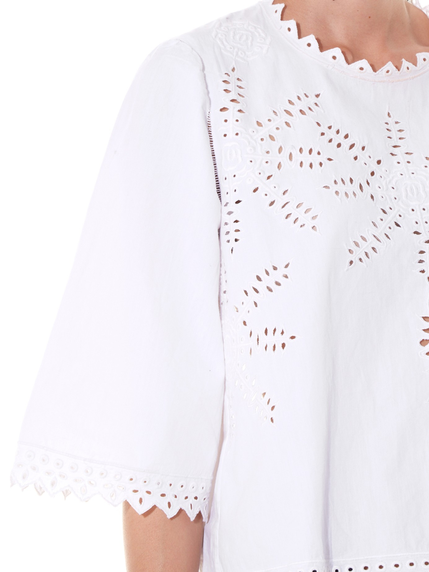 ac17372c20c93 Lyst - Étoile Isabel Marant Dill Embroidered Cotton-poplin Top in White