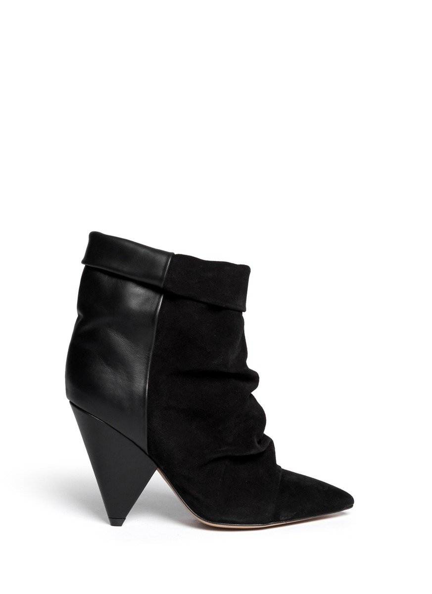 isabel marant andrew suede leather boots in black lyst. Black Bedroom Furniture Sets. Home Design Ideas
