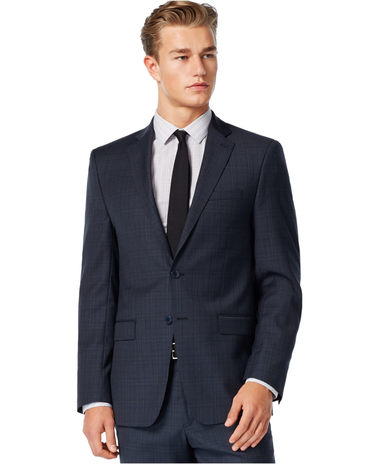 calvin klein navy plaid extra slim fit suit in blue for. Black Bedroom Furniture Sets. Home Design Ideas