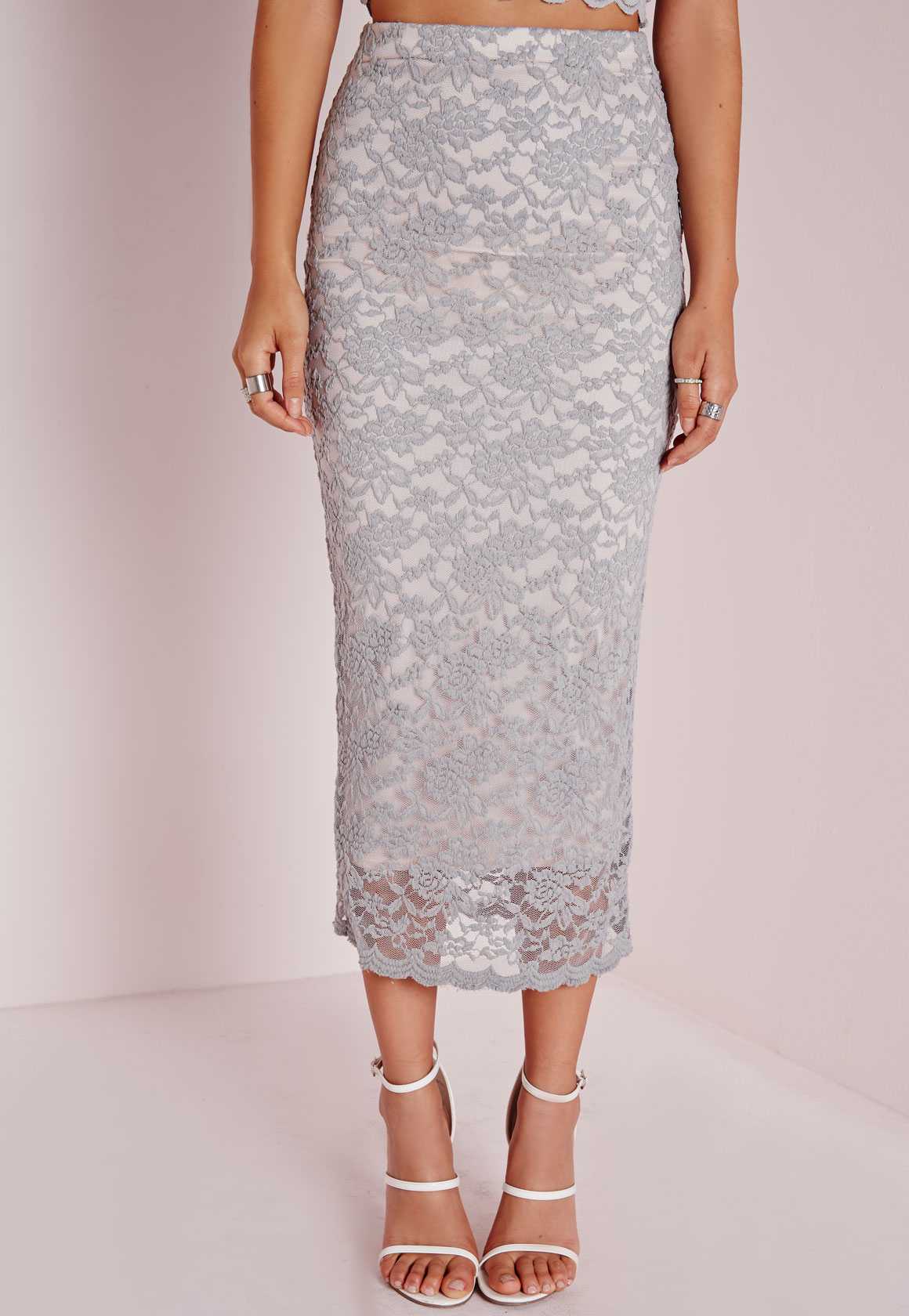 missguided longline lace midi skirt grey in gray lyst