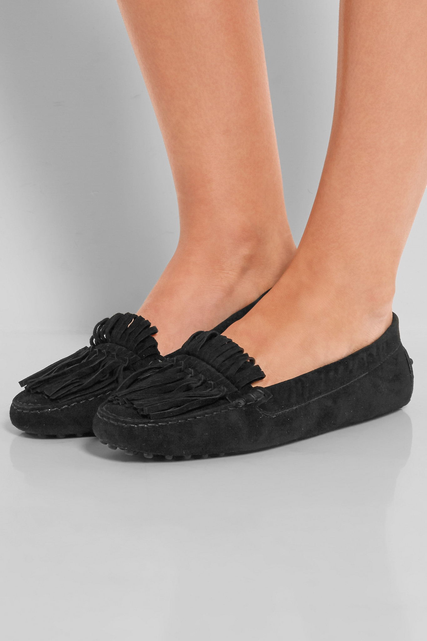 d8ec3aacc0d Tod S Gommino Fringed Suede Loafers in Black - Lyst